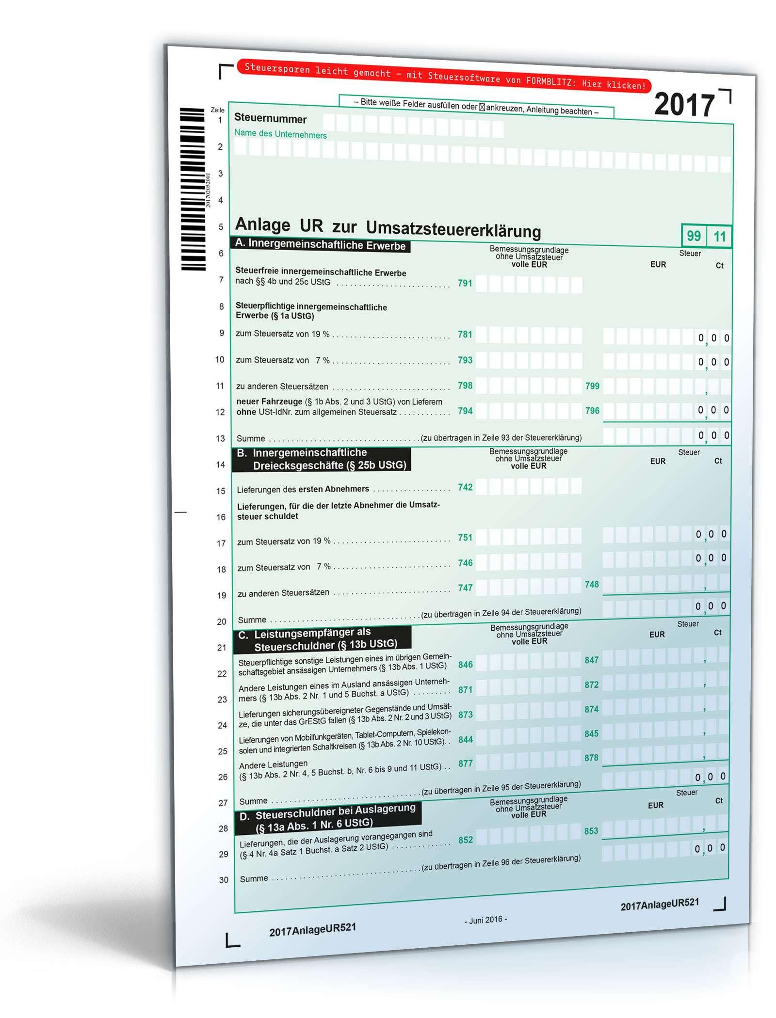 Anlage UR zur Umsatzsteuererklärung 2017 Dokument zum Download