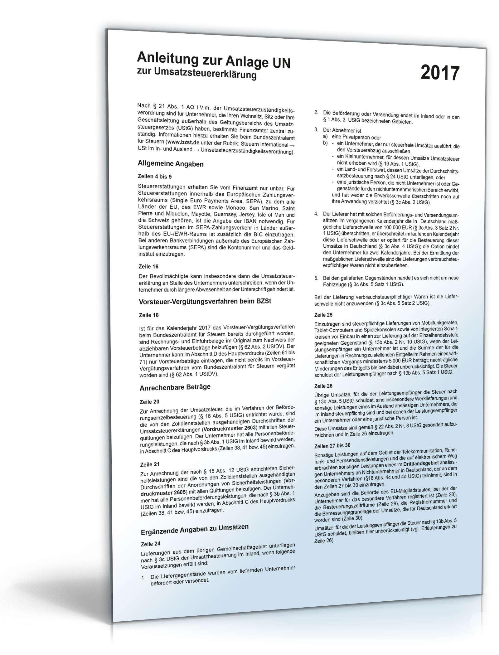 Anleitung zur Umsatzsteuererklärung 2017 Dokument zum Download