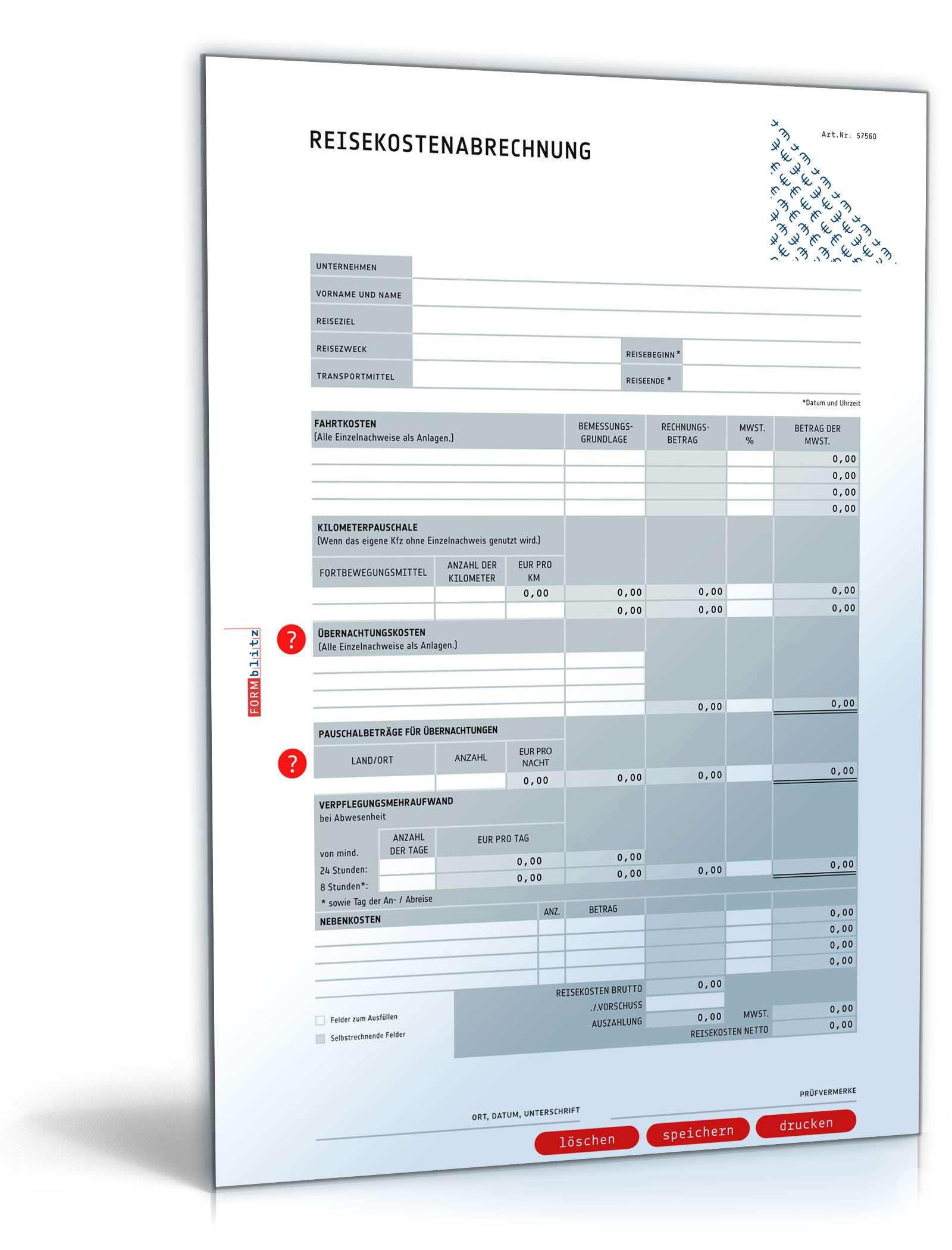 Reisekostenabrechnung 2018: Selbstrechnendes Muster downloaden