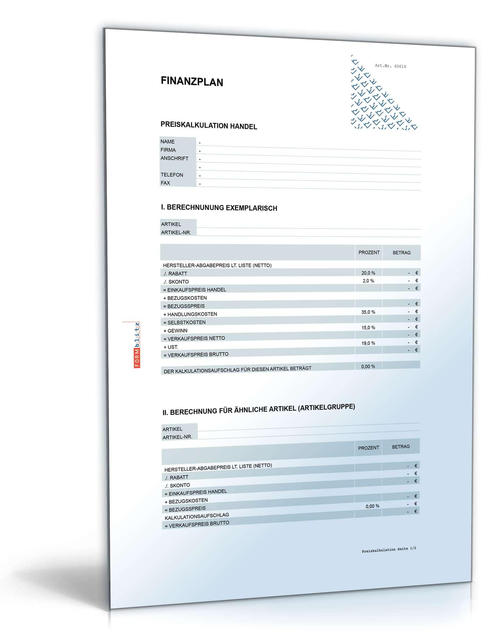 Finanzplan: Muster zum Download als ausgeformeltes XLS