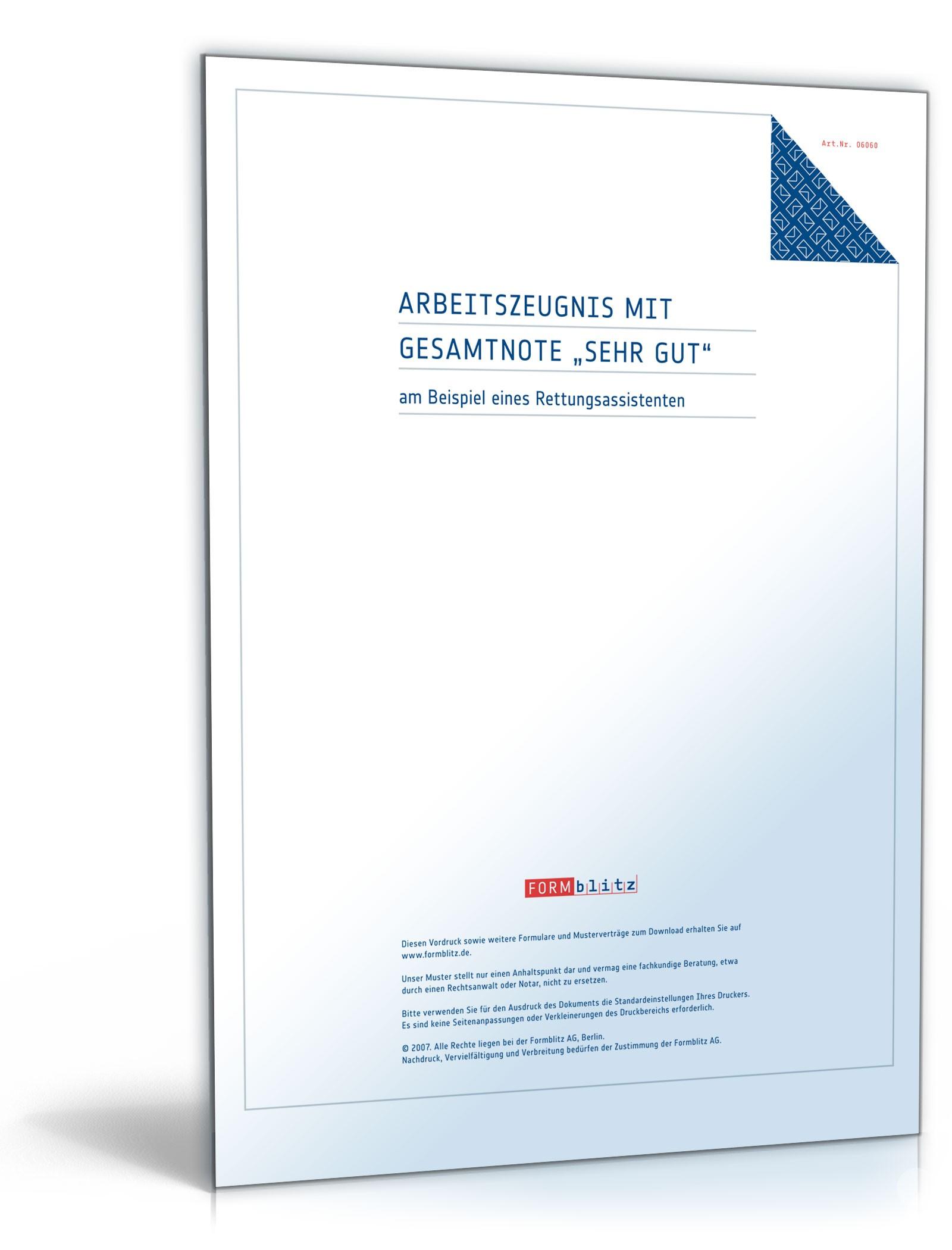 Arbeitszeugnis-Paket Rettungsassistent Note Eins bis Vier | {Rettungssanitäter zeugnis 52}