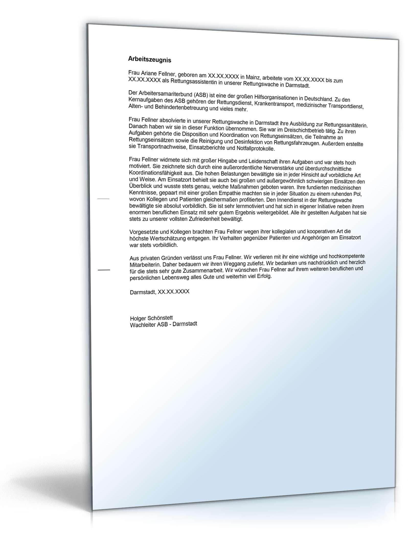 Arbeitszeugnis-Paket Rettungsassistent Note Eins bis Vier | {Rettungssanitäter zeugnis 60}