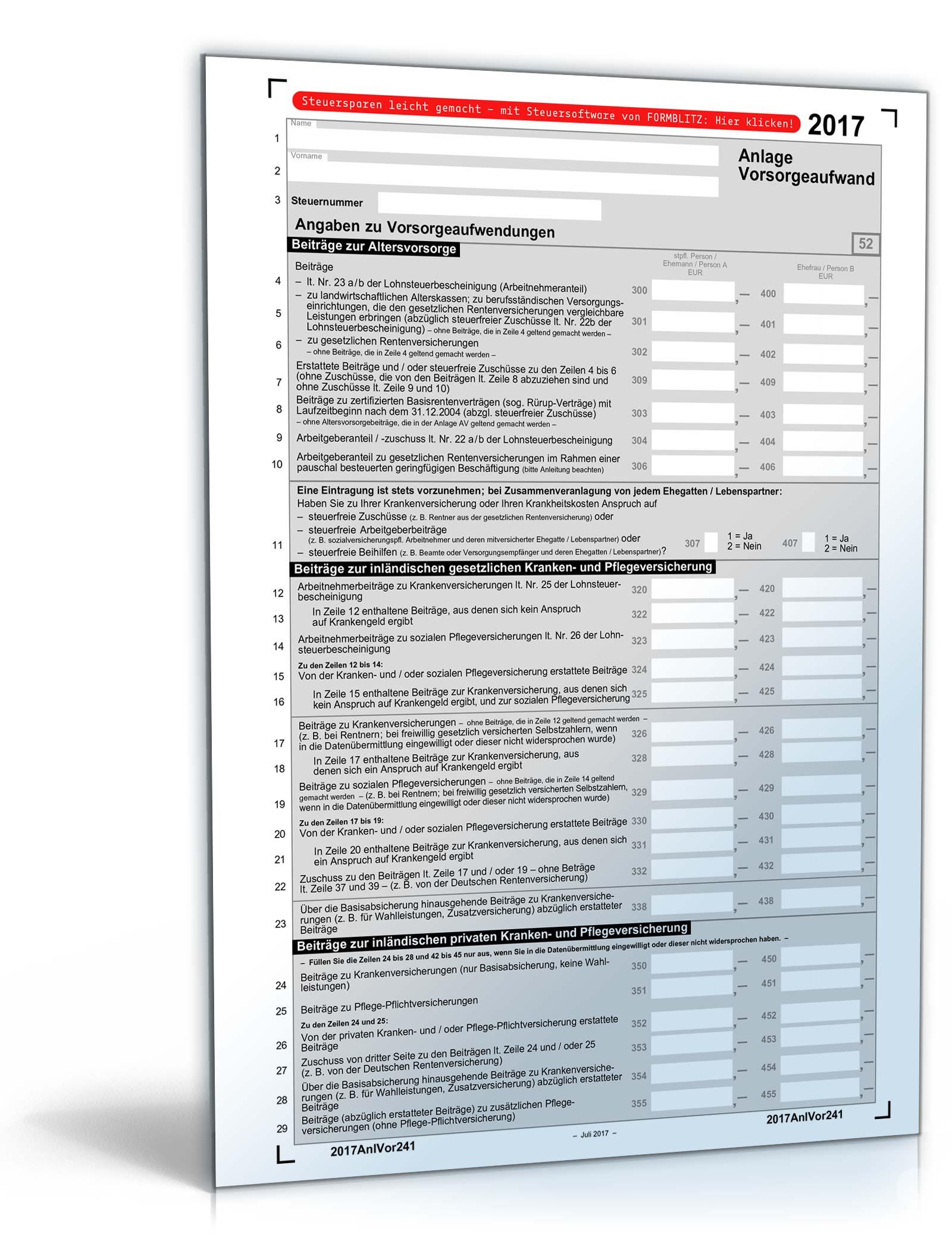 anlage vorsorgeaufwand 2017 - Steuererklarung Anlage V Beispiel