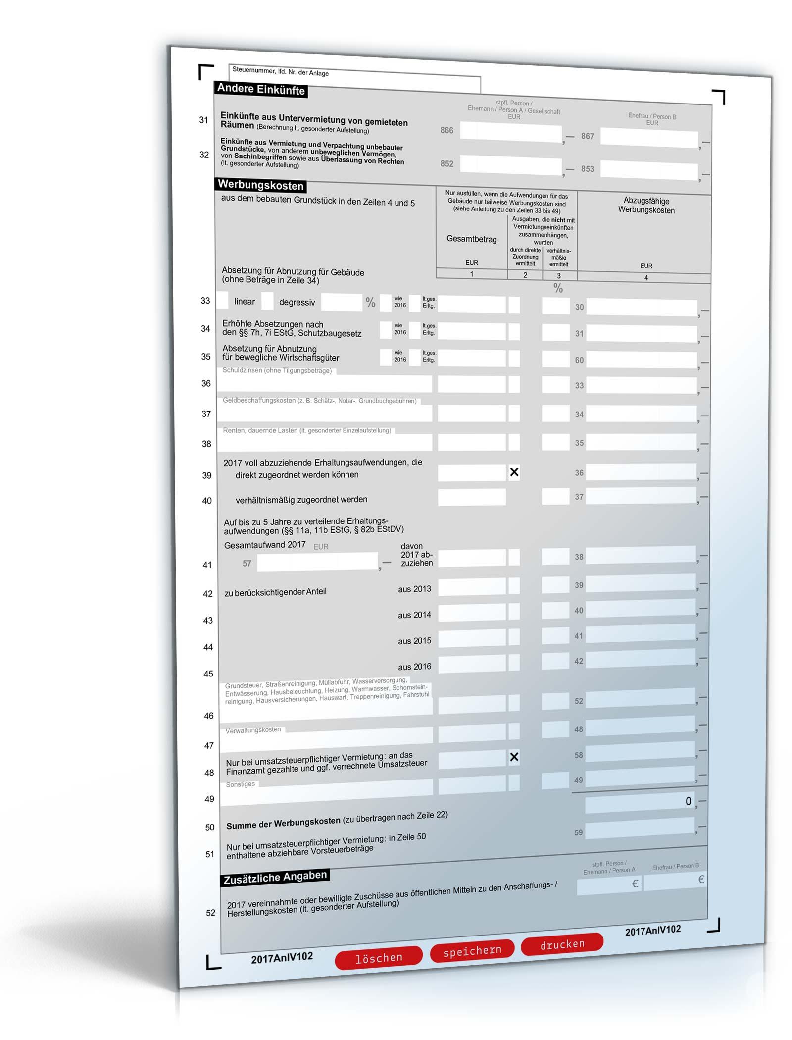 vorschaubild 02 - Steuererklarung Anlage V Beispiel