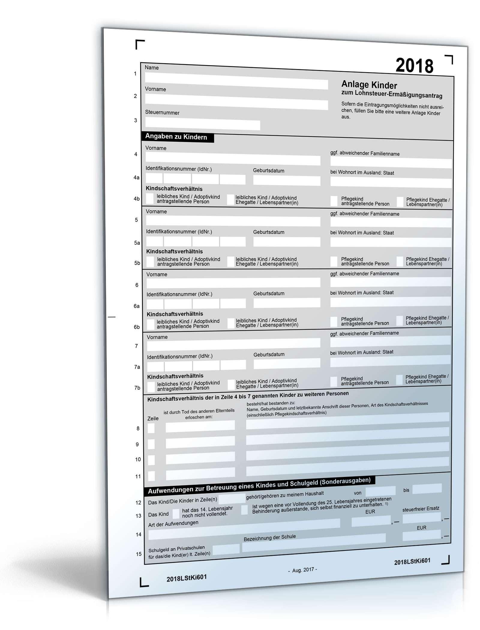 steuererklärung 2018 download pdf