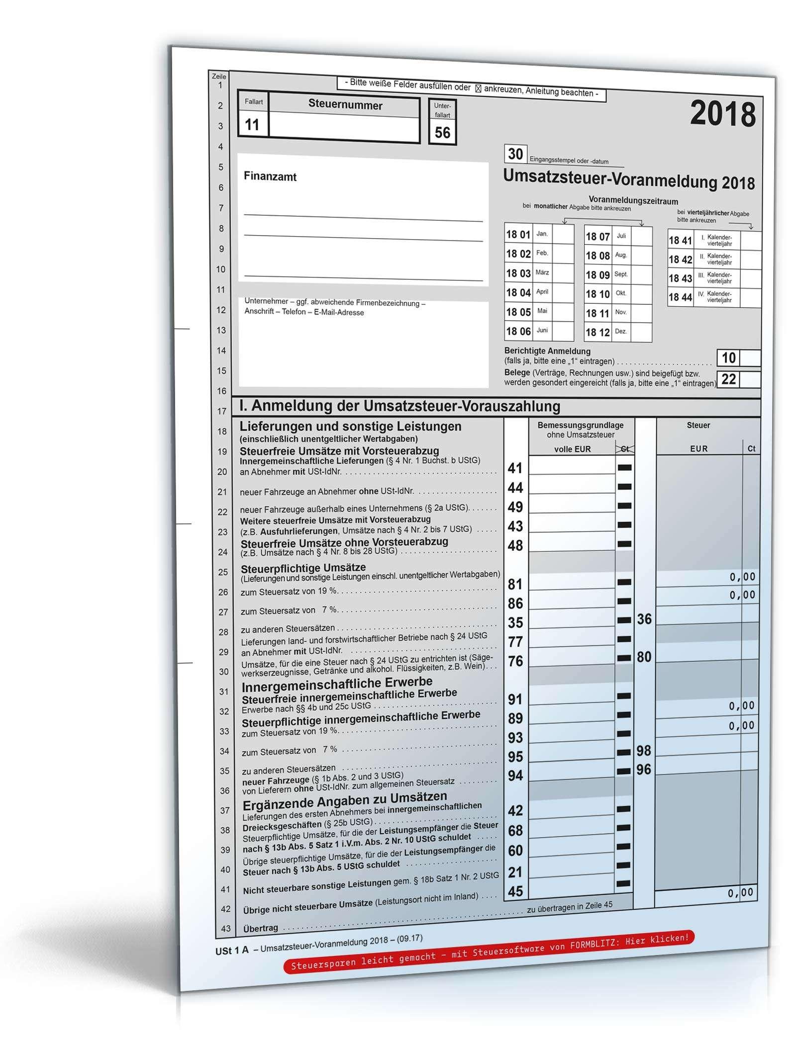 Umsatzsteuer Voranmeldung 2018 Steuerformular Zum Download
