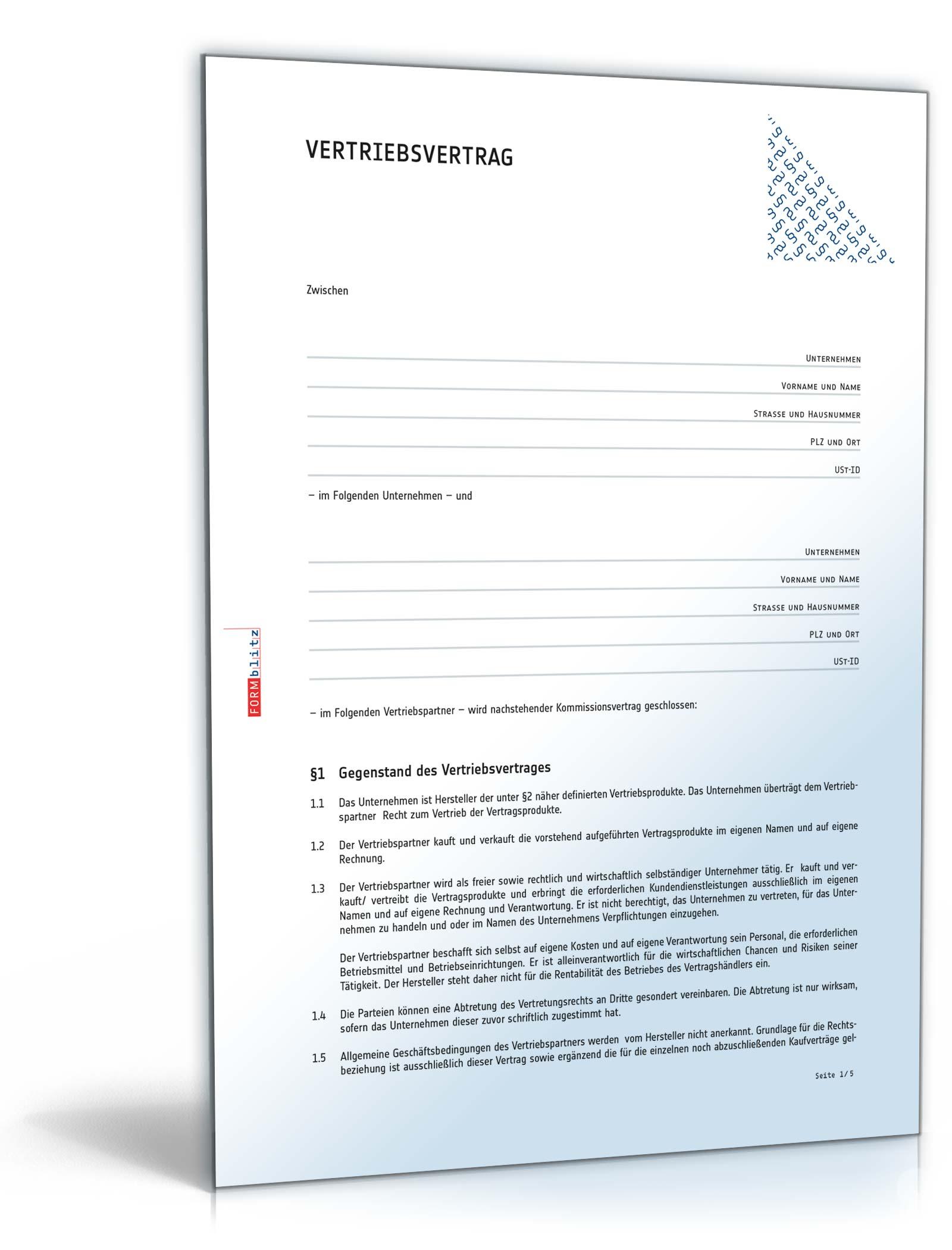 Vertriebsvertrag Rechtssicheres Muster Zum Downloadd