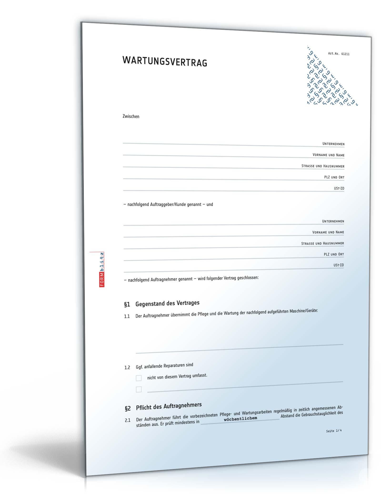 Wartungsvertrag Muster Vorlage Zum Download