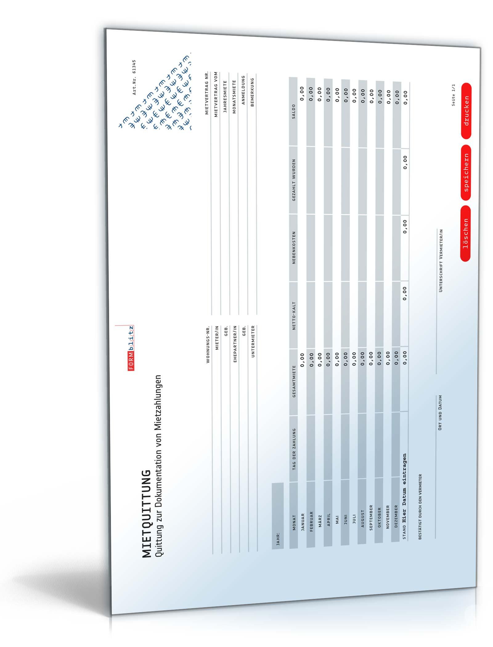 Mietquittung: Vorlage zur Bestätigung von Mietzahlungen