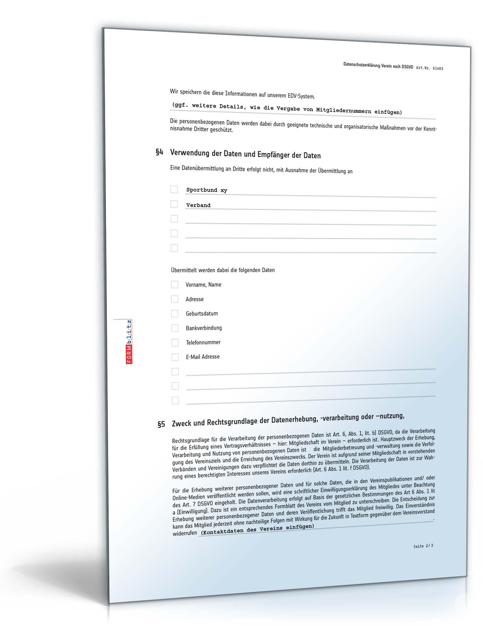datenschutzerklaerung verein word - Muster Datenschutzerklarung