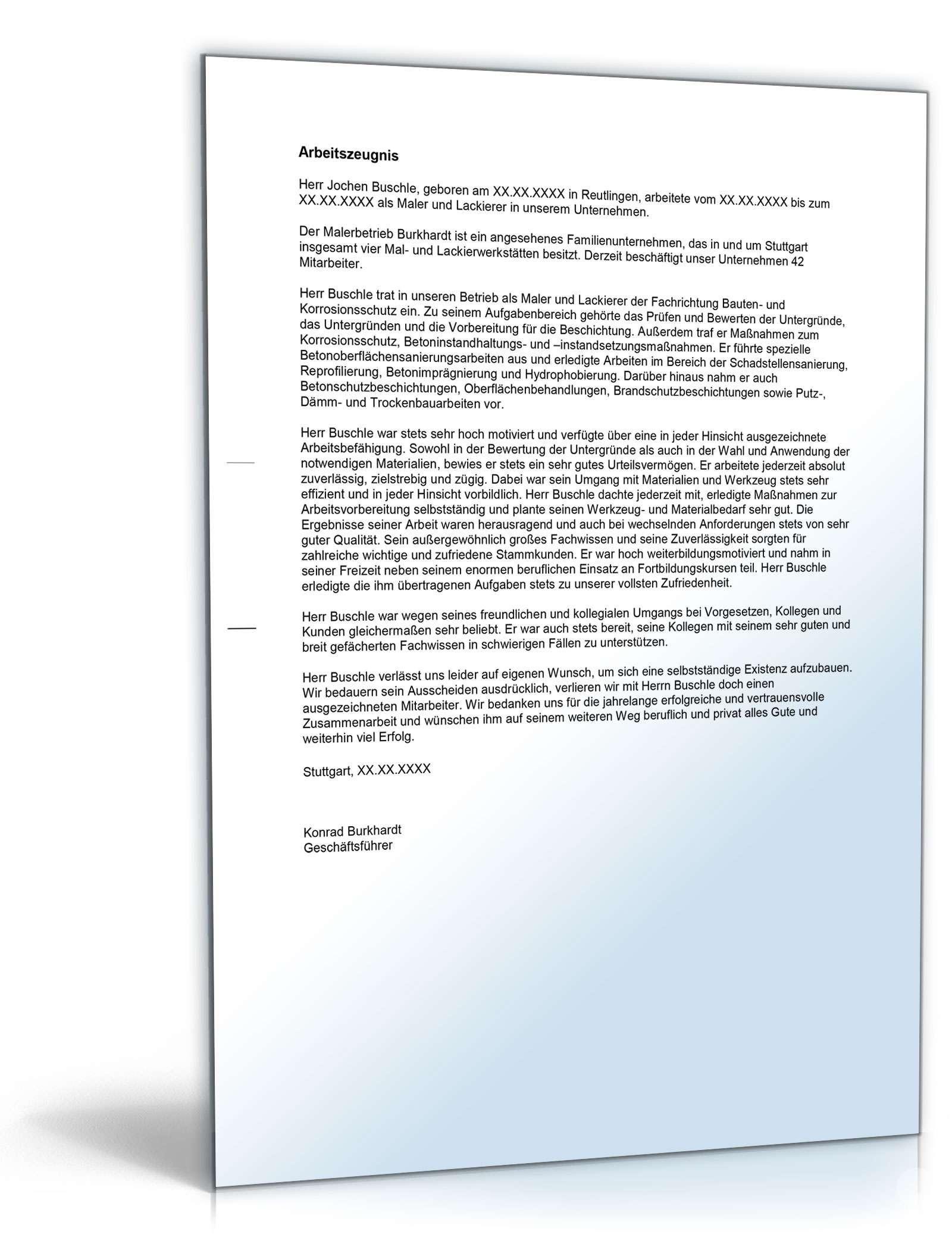 Arbeitszeugnis Maler: Rechtssichere Muster zum Download