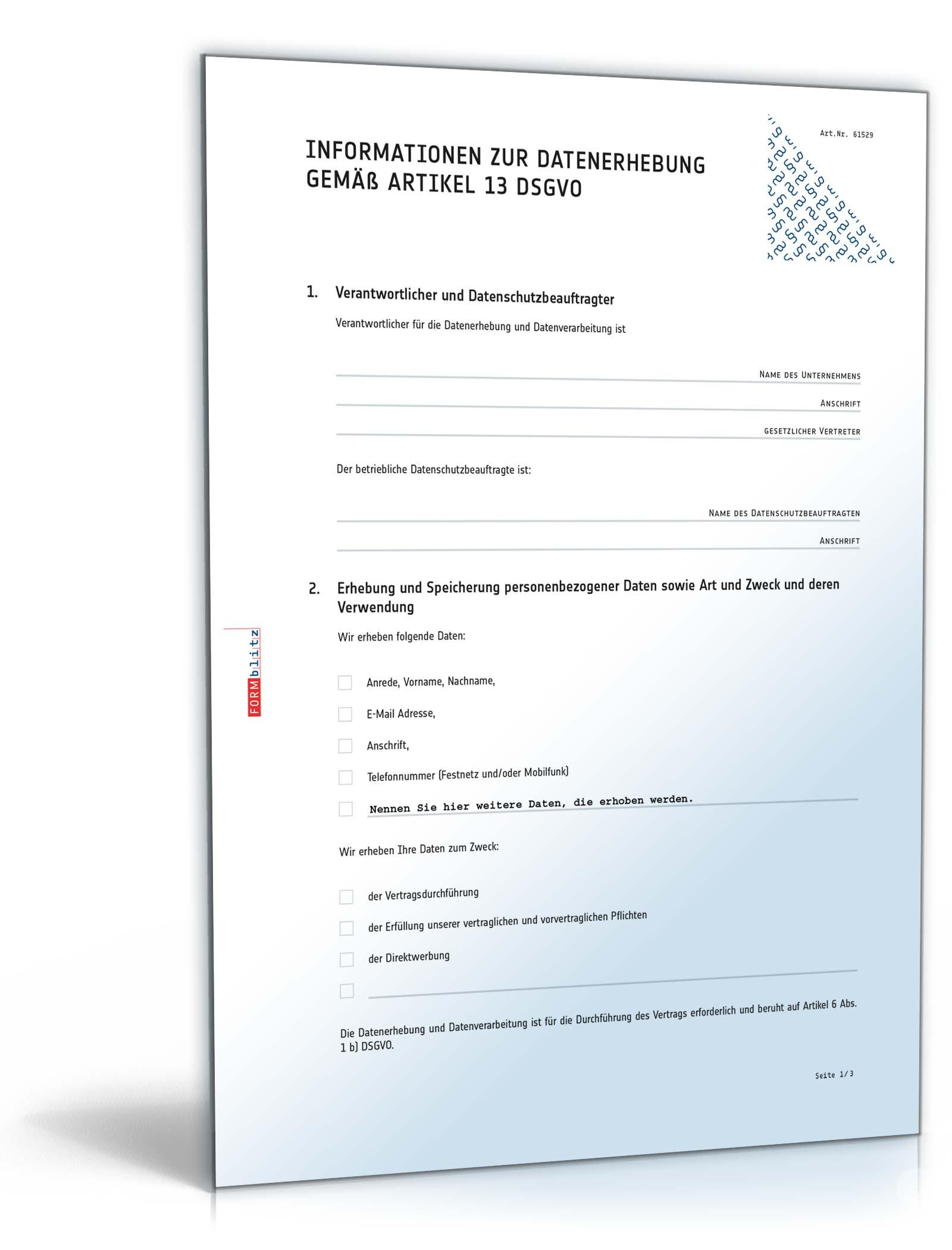 Informationen zur Datenerhebung : Muster zum Download