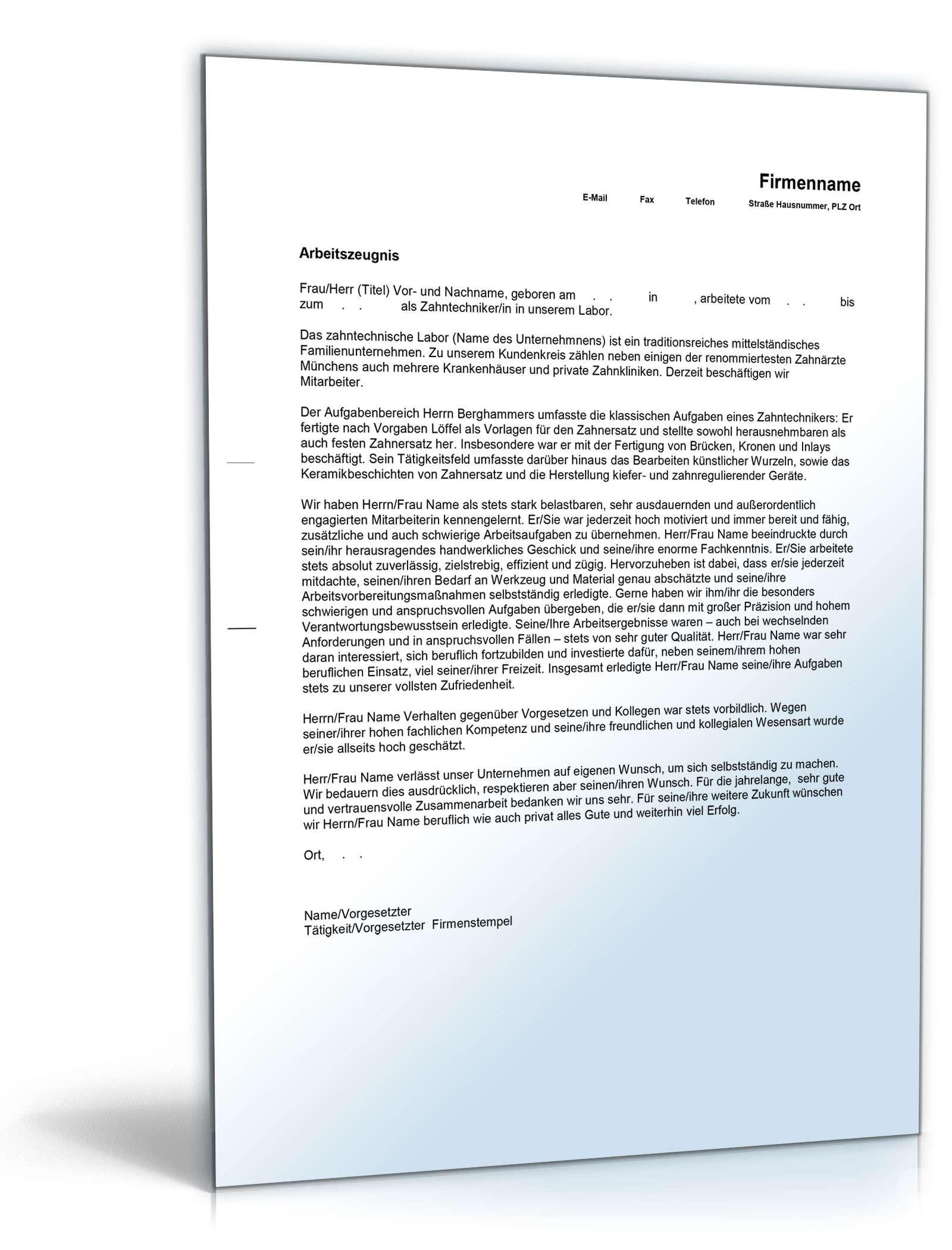 Arbeitszeugnis Zahntechniker Muster Zum Download