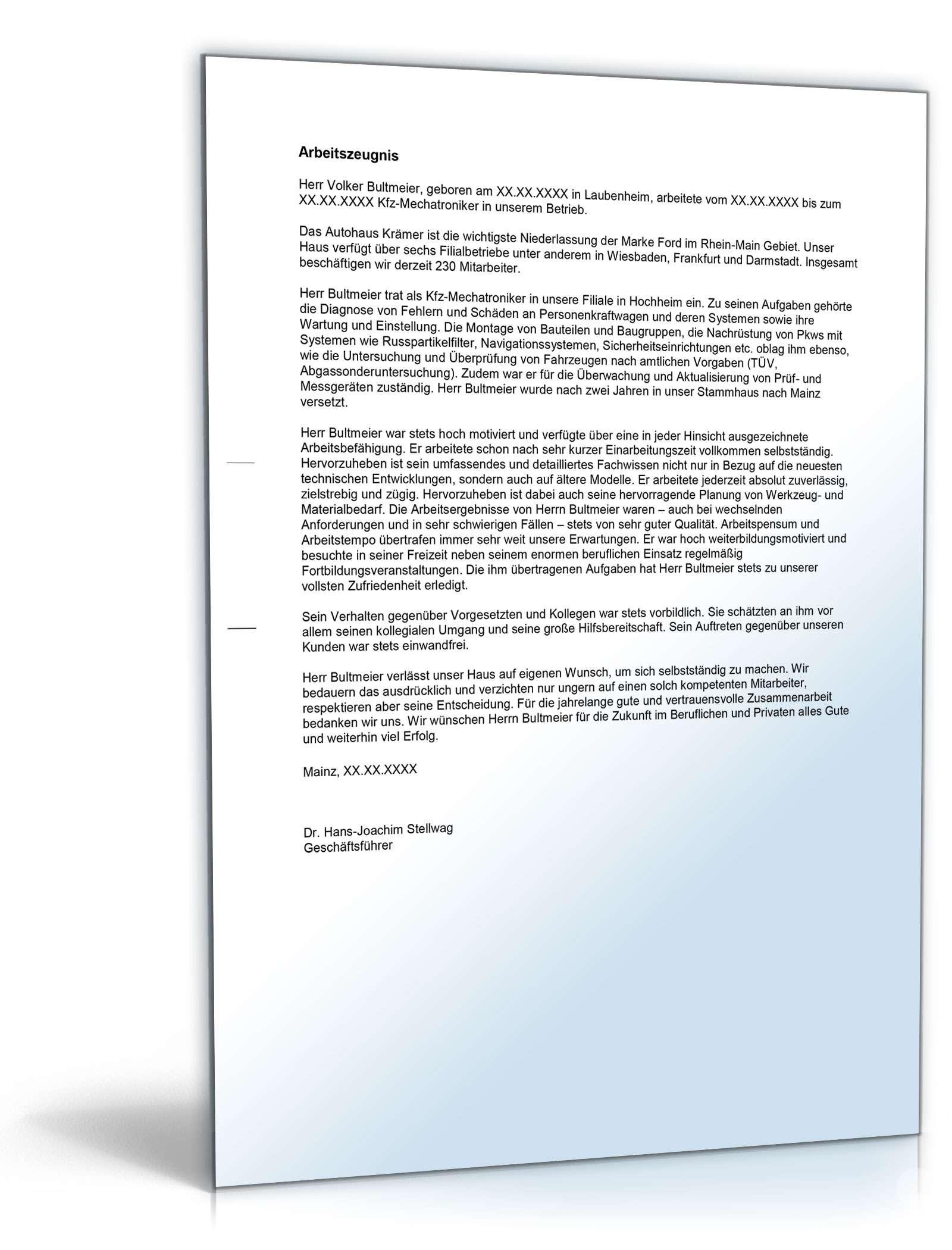 arbeitszeugnis kfz mechatroniker muster - Arbeitszeugnis Schreiben Muster
