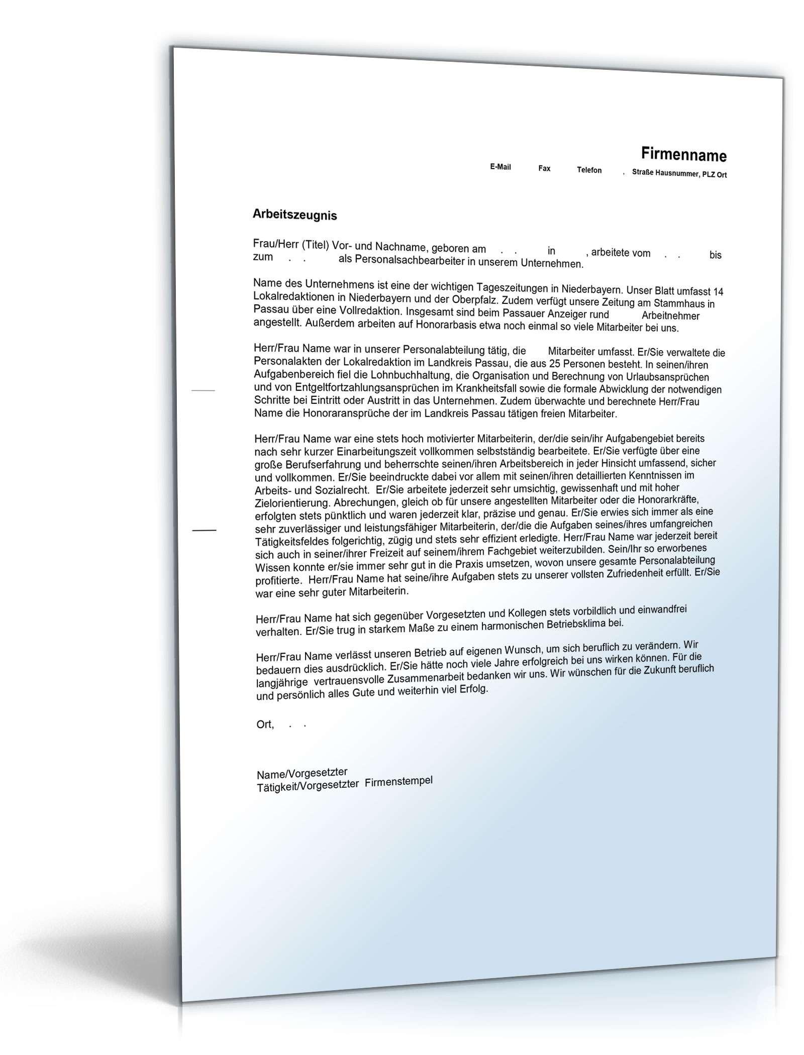 Arbeitszeugnis Personalsachbearbeiter Muster Zum Download