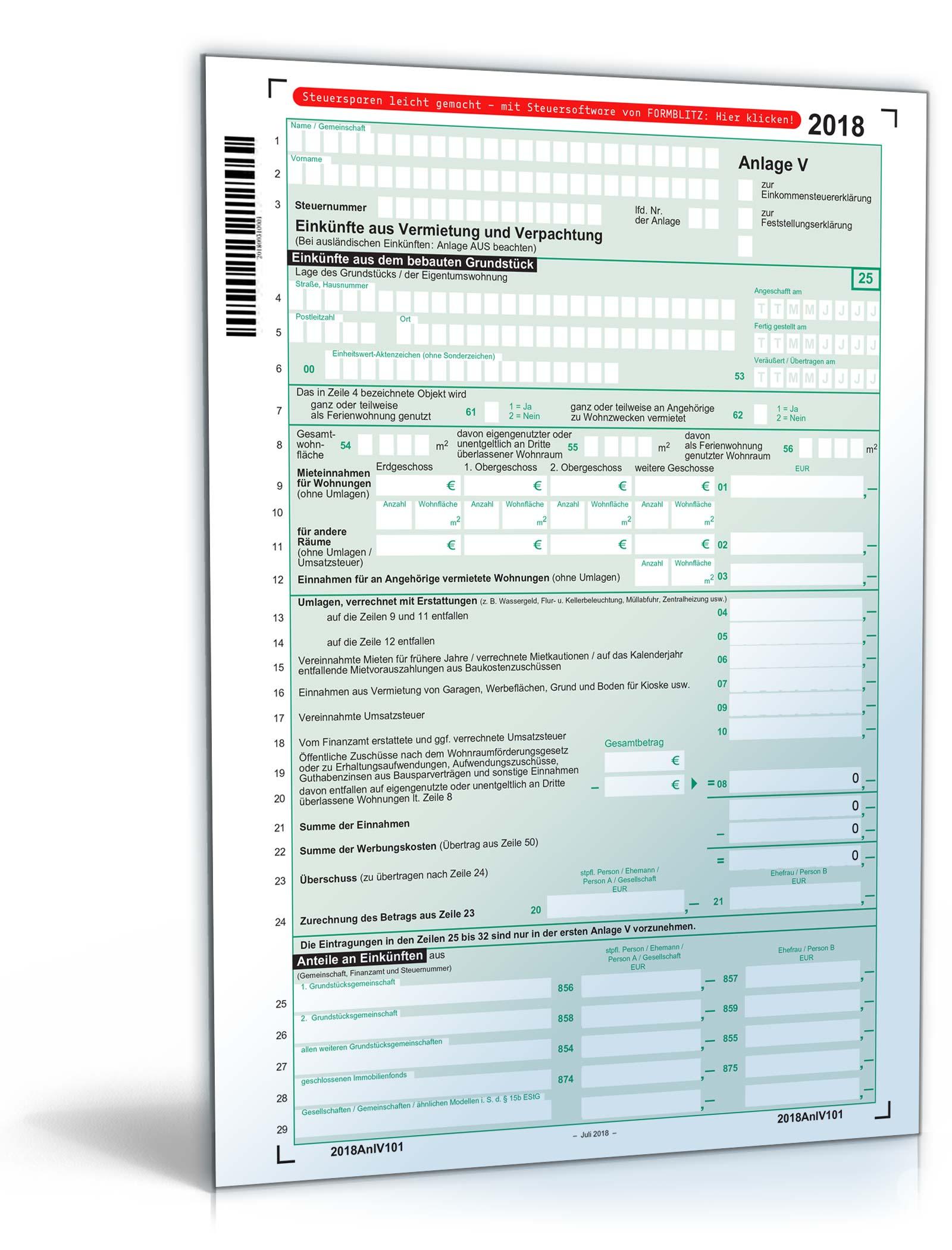 Anlage V 2018 Steuerformular Zum Download