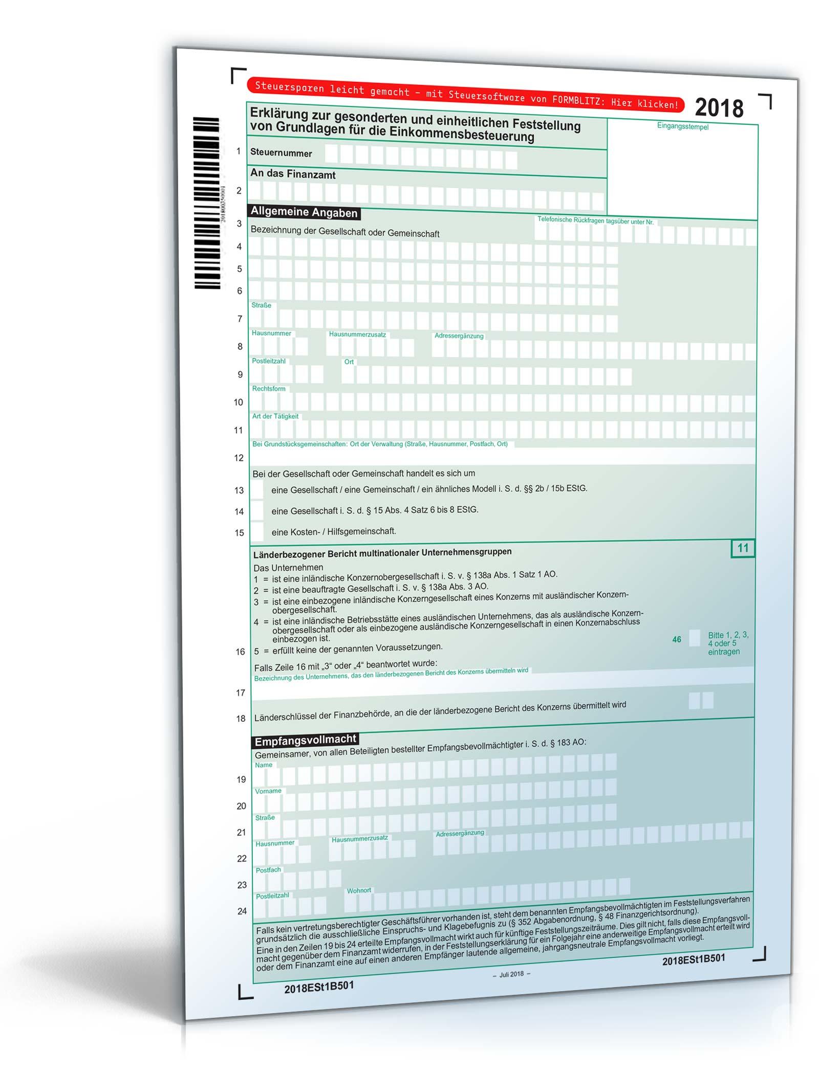 Erklärung zur gesonderten und einheitlichen Feststellung 2020 Dokument zum Download