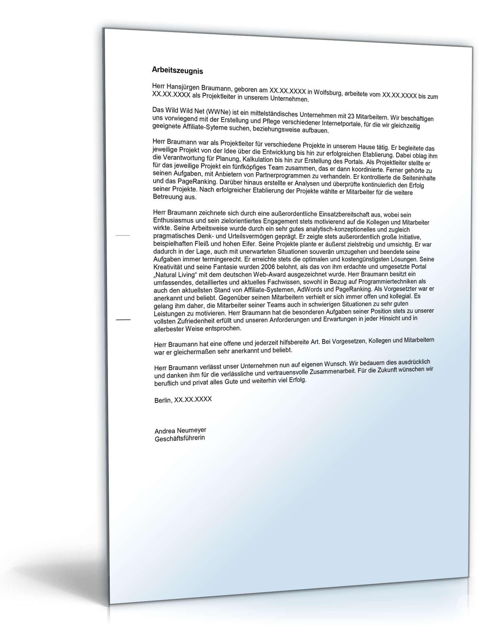 Arbeitszeugnis Projektleiter Muster Zum Download