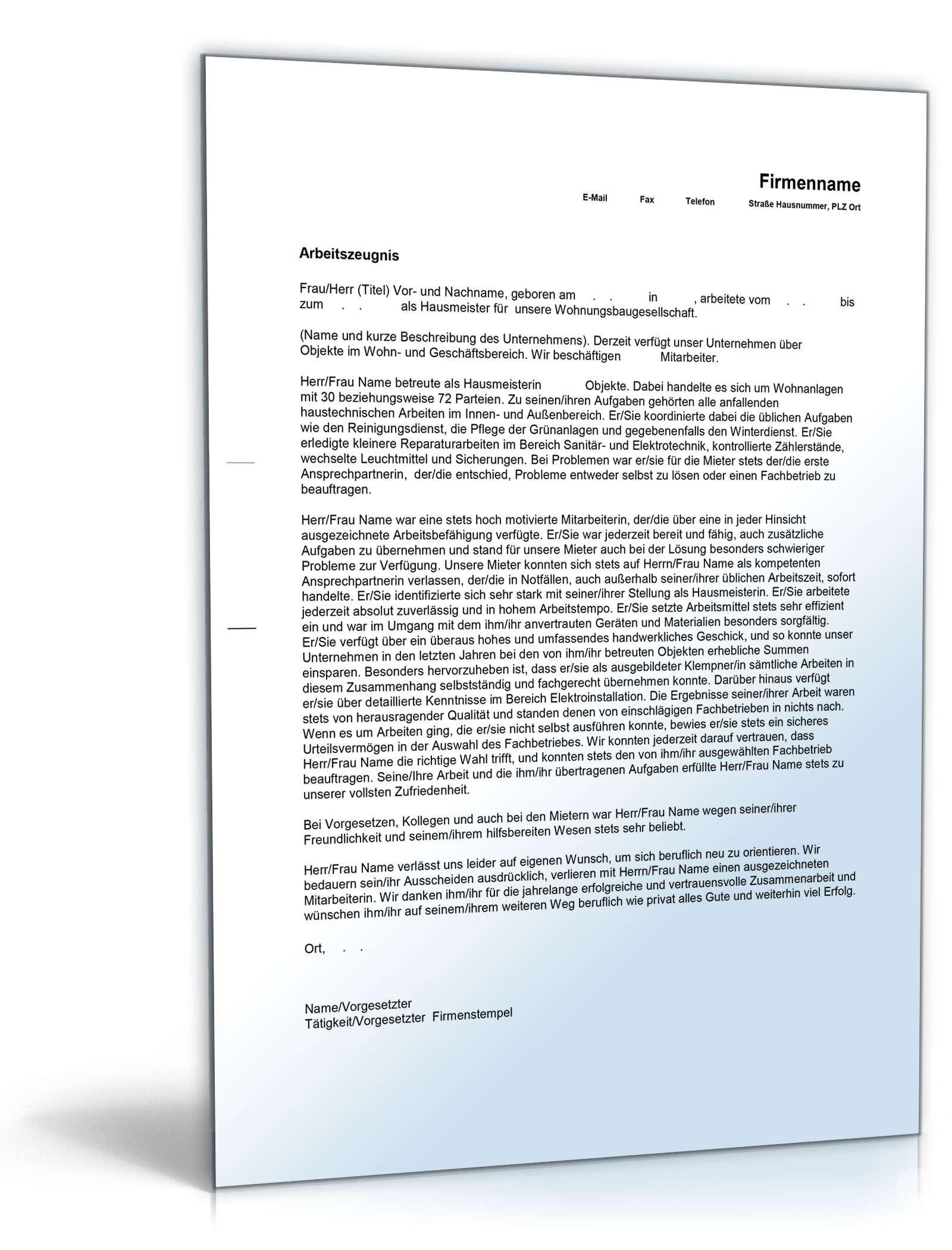 Charmant Hausmeisterservice Vertragsvorlage Bilder - Beispiel ...