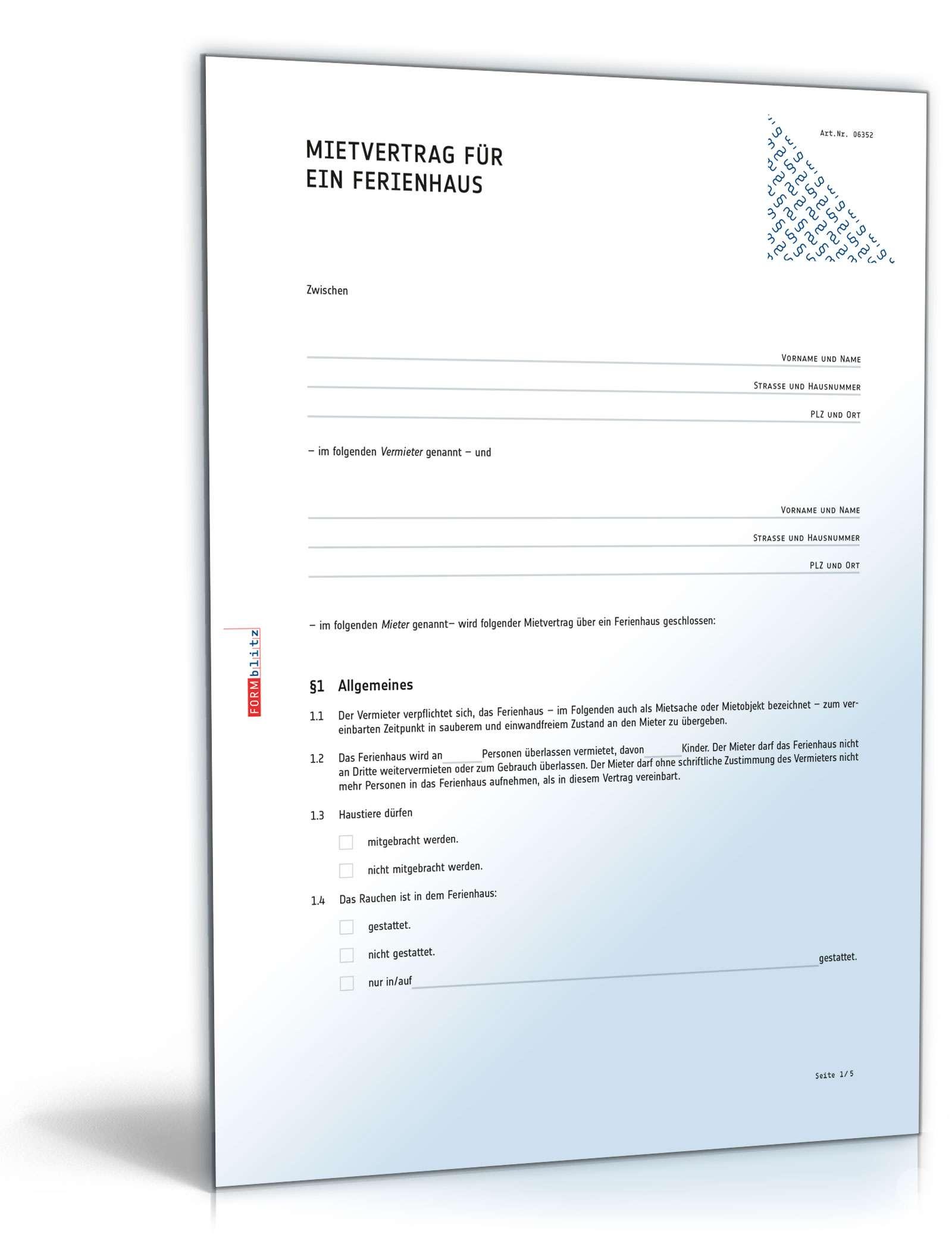Mietvertrag Ferienhaus: Muster als PDF & Word zum Download