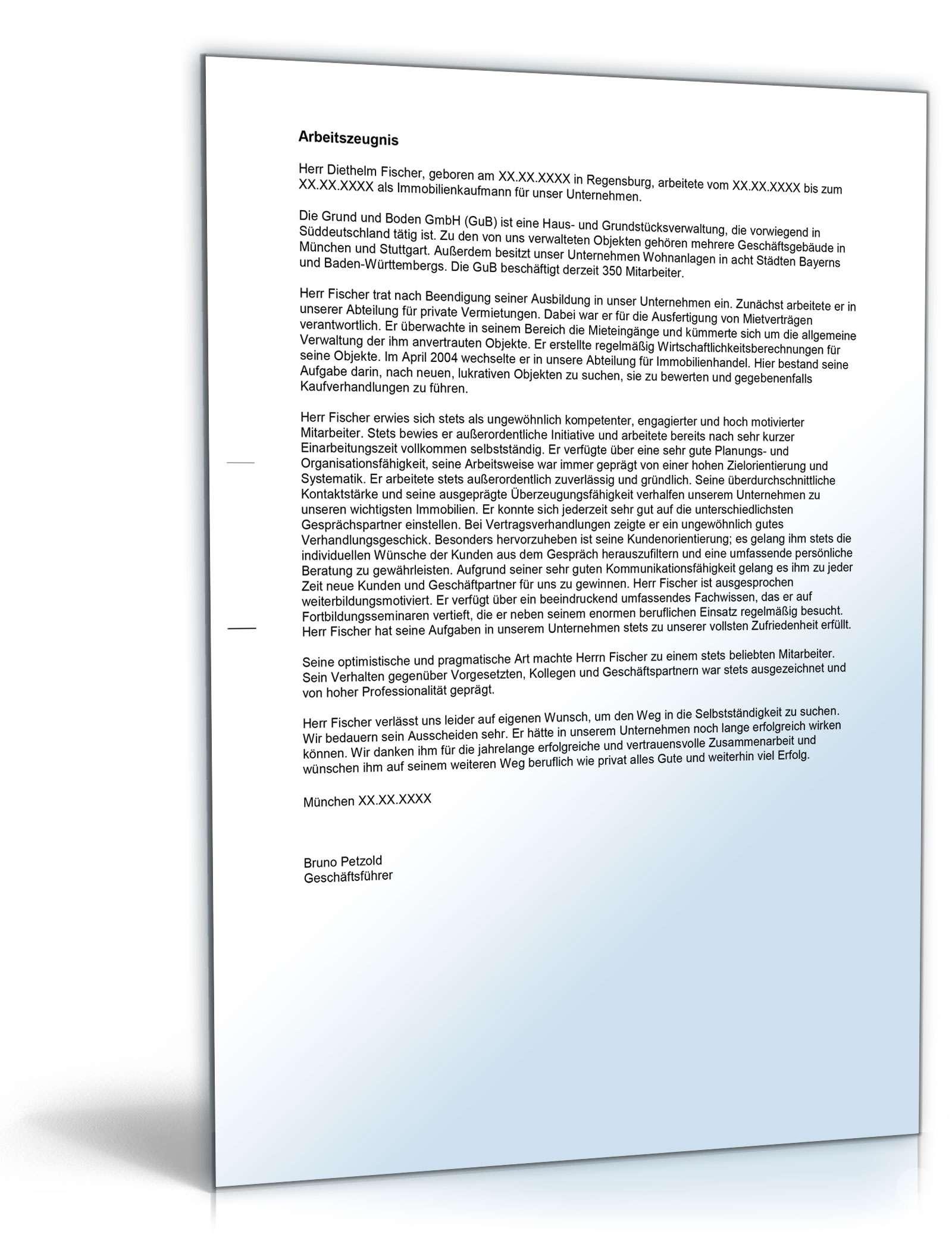 Arbeitszeugnis Immobilienkaufleute Muster Zum Download