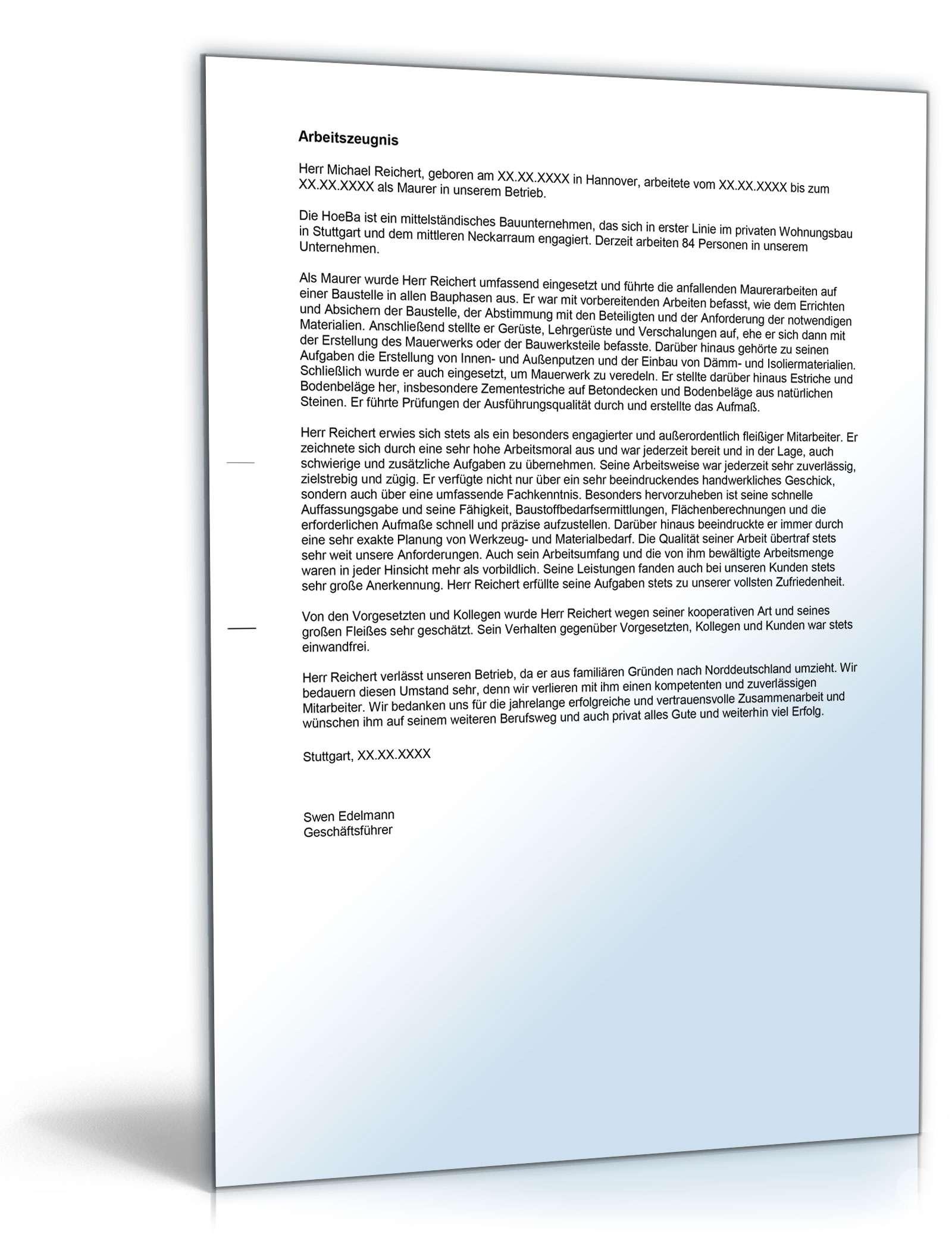 Arbeitszeugnis Maurer Rechtssichere Muster Zum Download