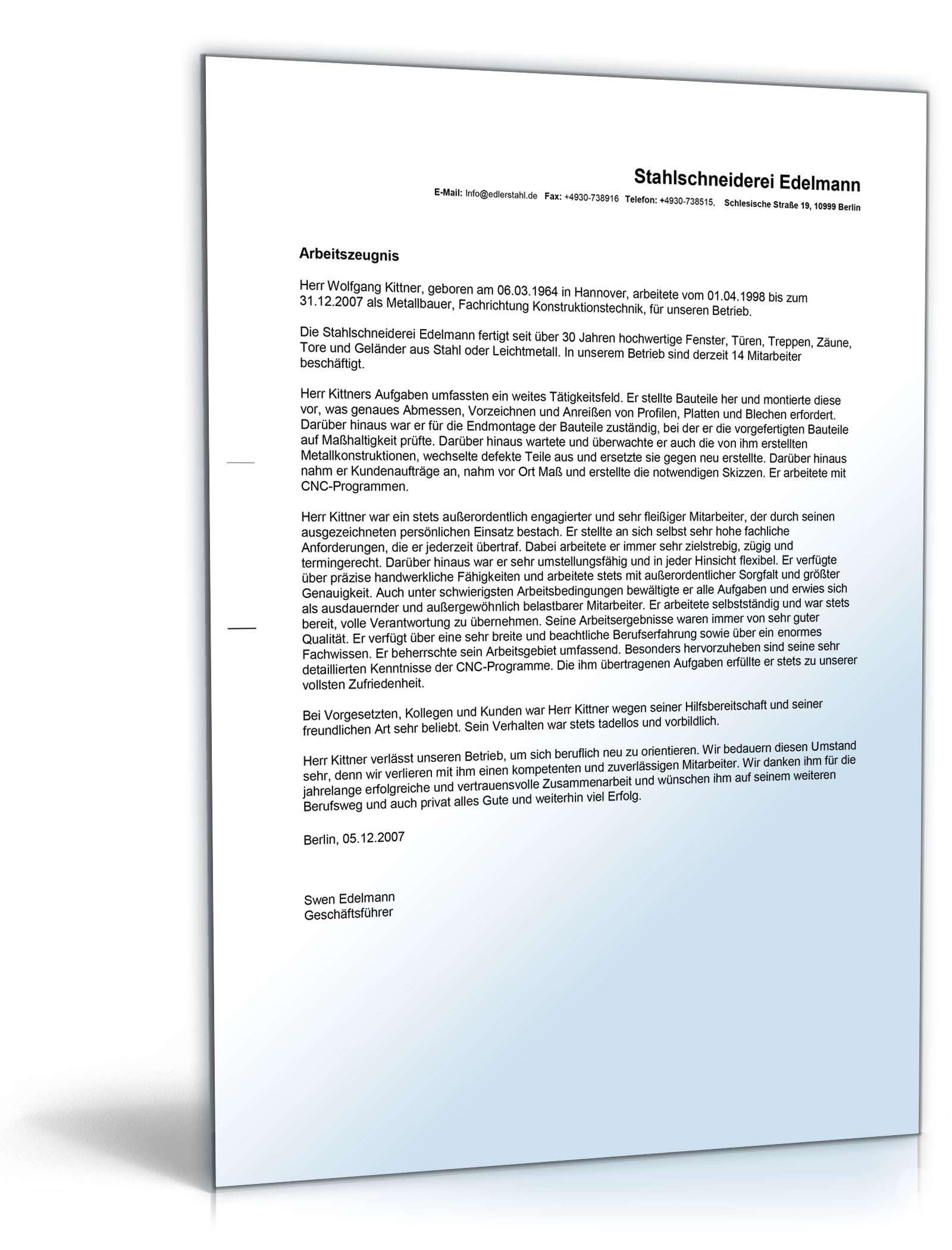 Arbeitszeugnis Metallbauer Rechtsichere Muster Zum Download