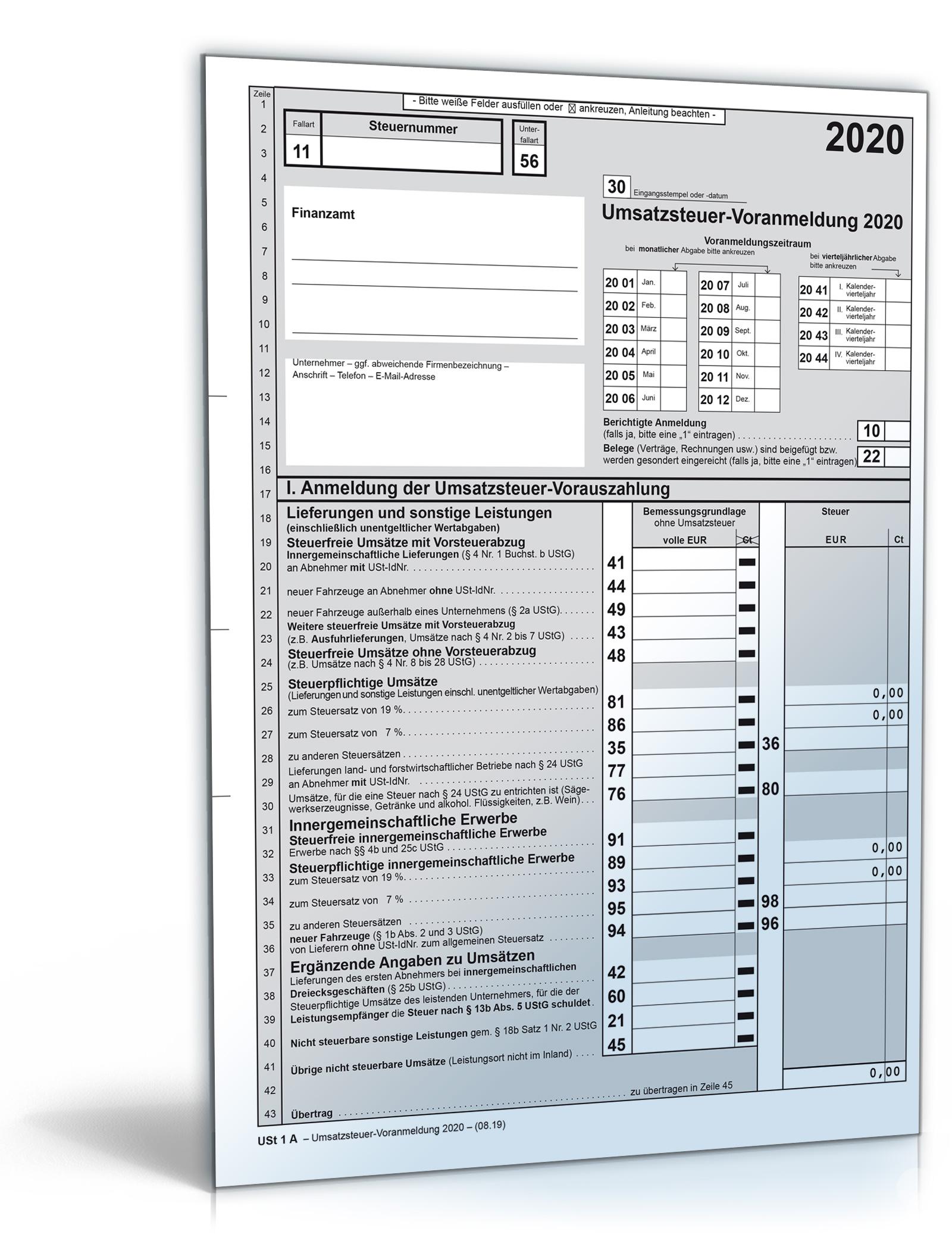 Umsatzsteuer-Voranmeldung 2020 Dokument zum Download