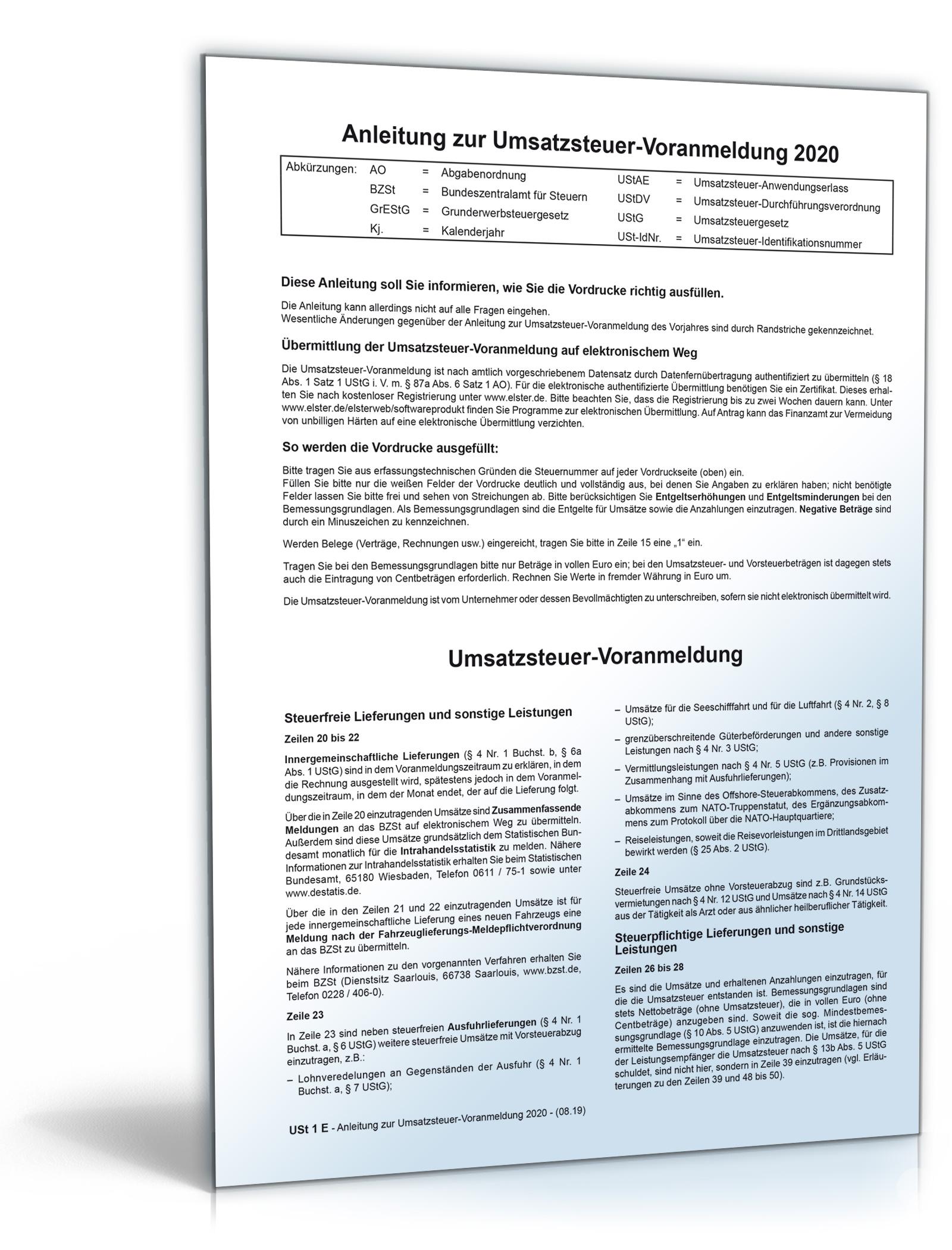 Anleitung Umsatzsteuervoranmeldung 2021 Dokument zum Download