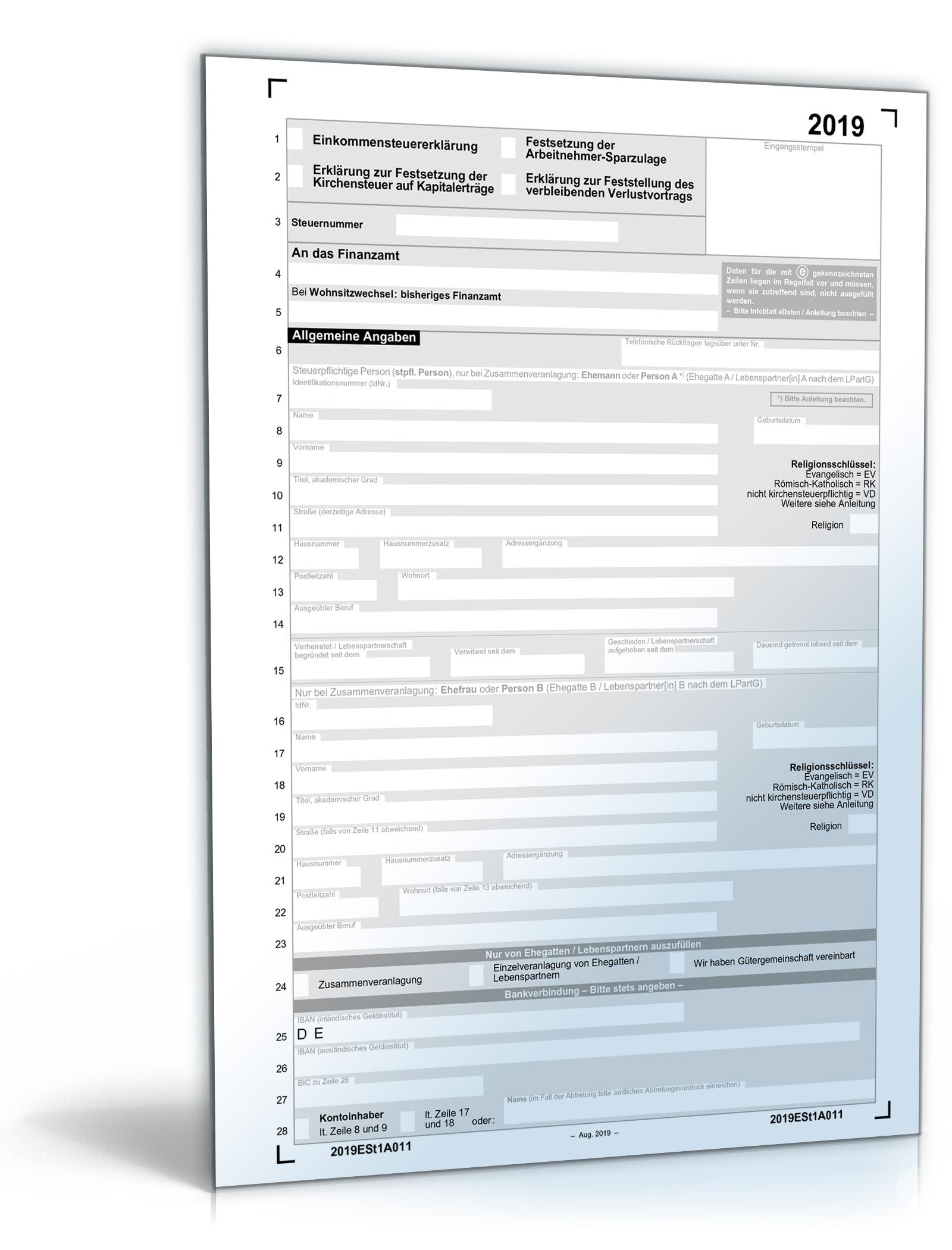 Formular steuererklärung 2020
