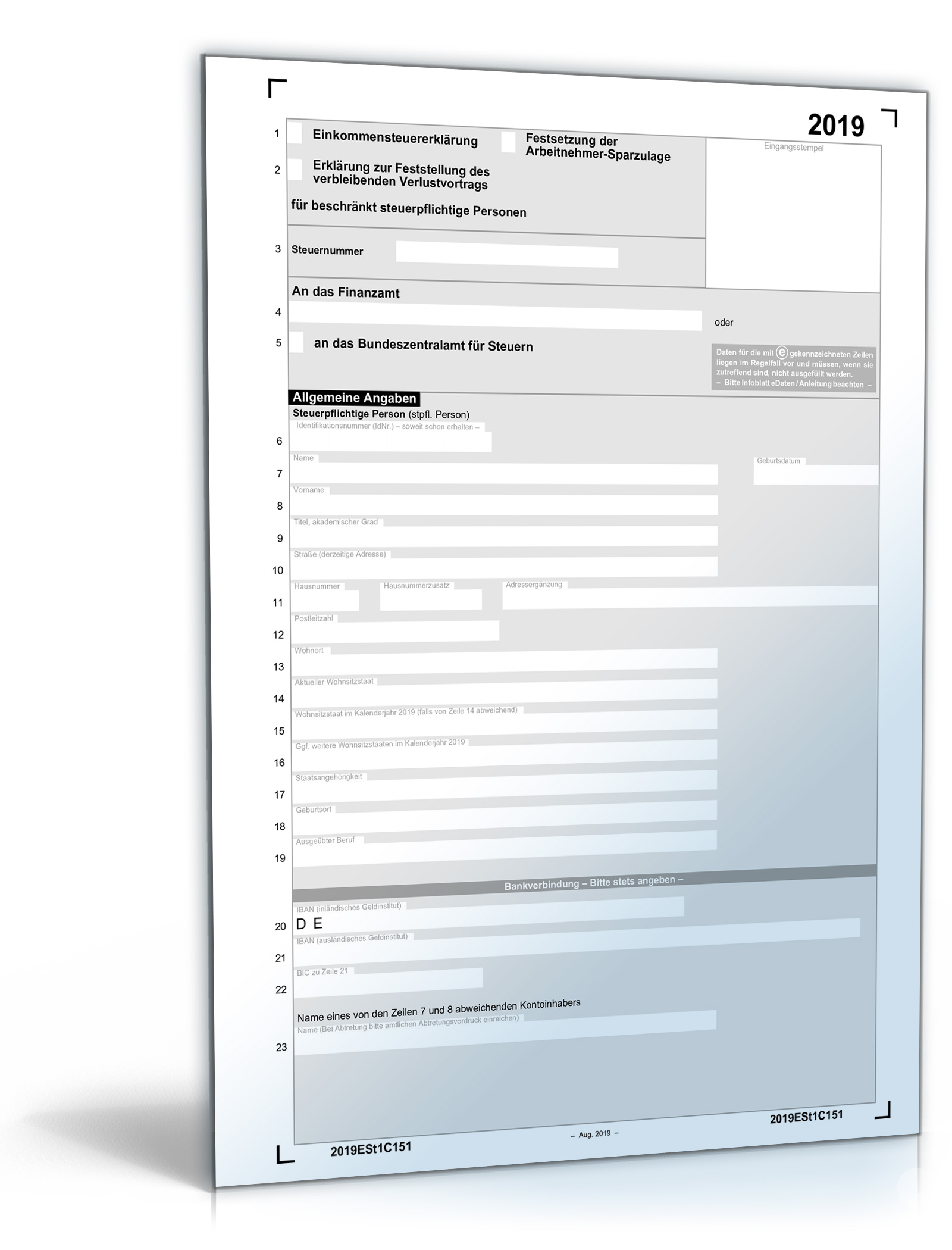 Einkommensteuererklärung beschränkt Steuerpflichtige 2019 Dokument zum Download