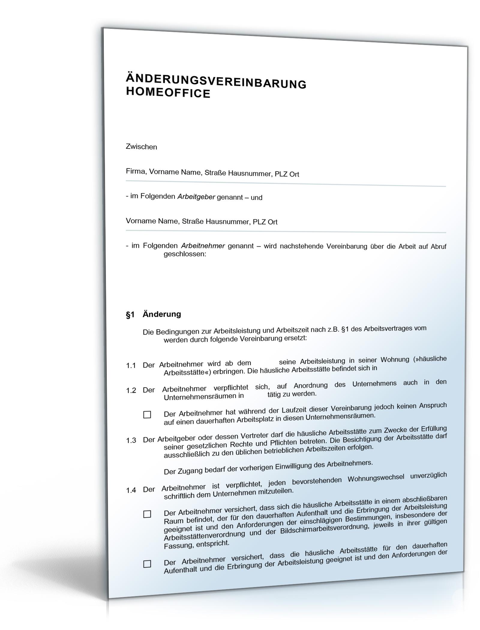 Änderungsvereinbarung Homeoffice Dokument zum Download
