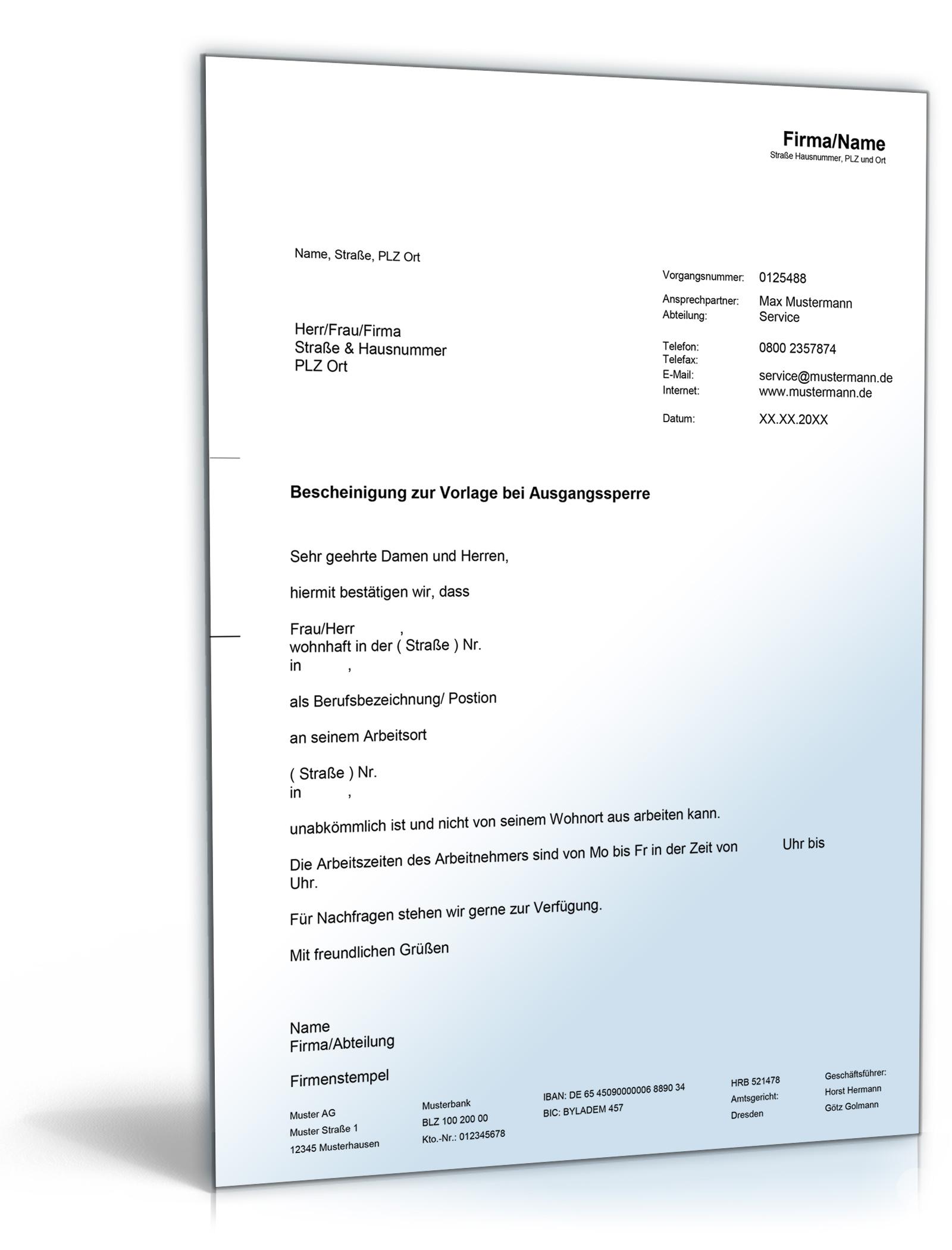 Arbeitgeberbescheinigung bei Ausgangssperre Dokument zum Download