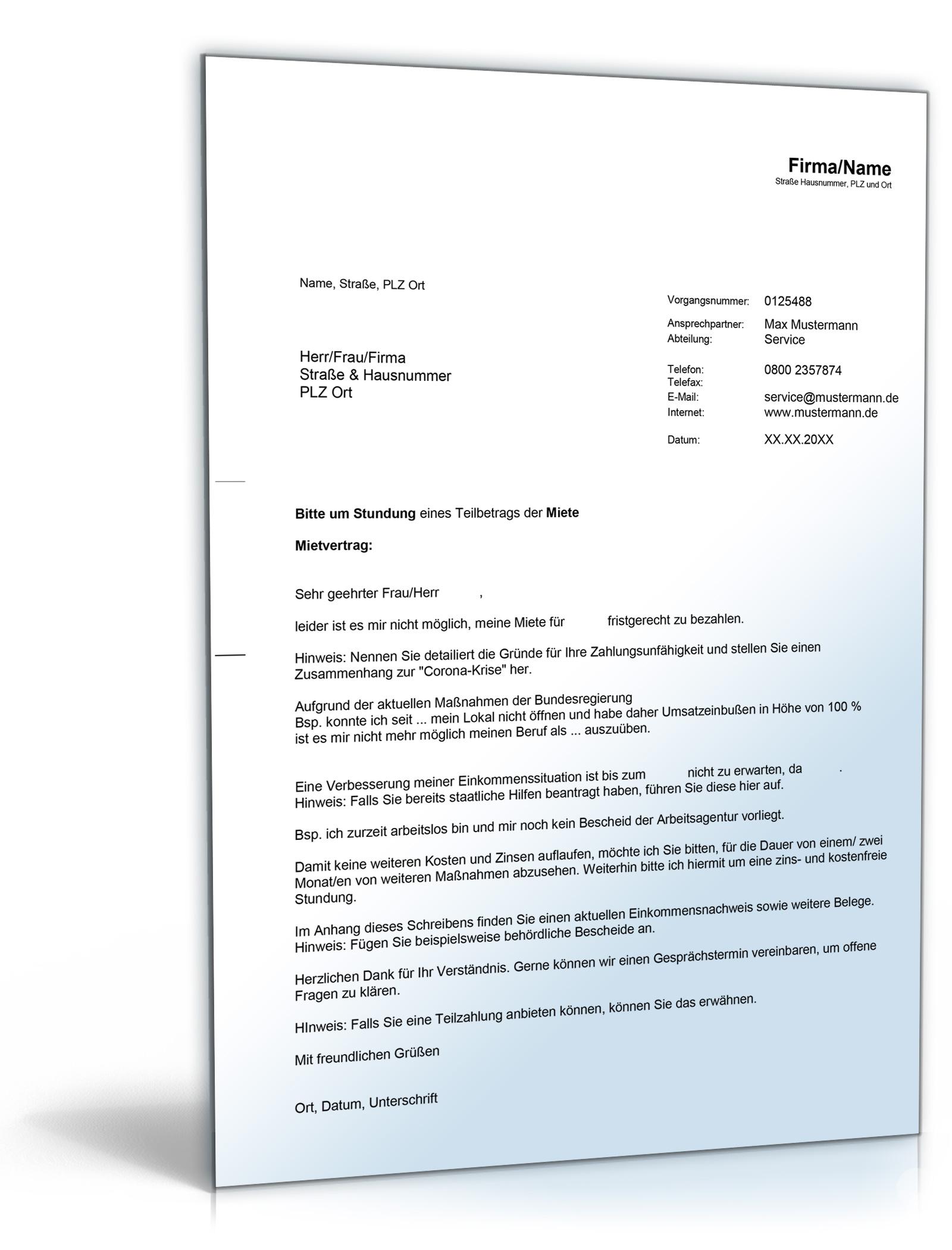 Mietminderung Corona Gewerbe Dokument zum Download