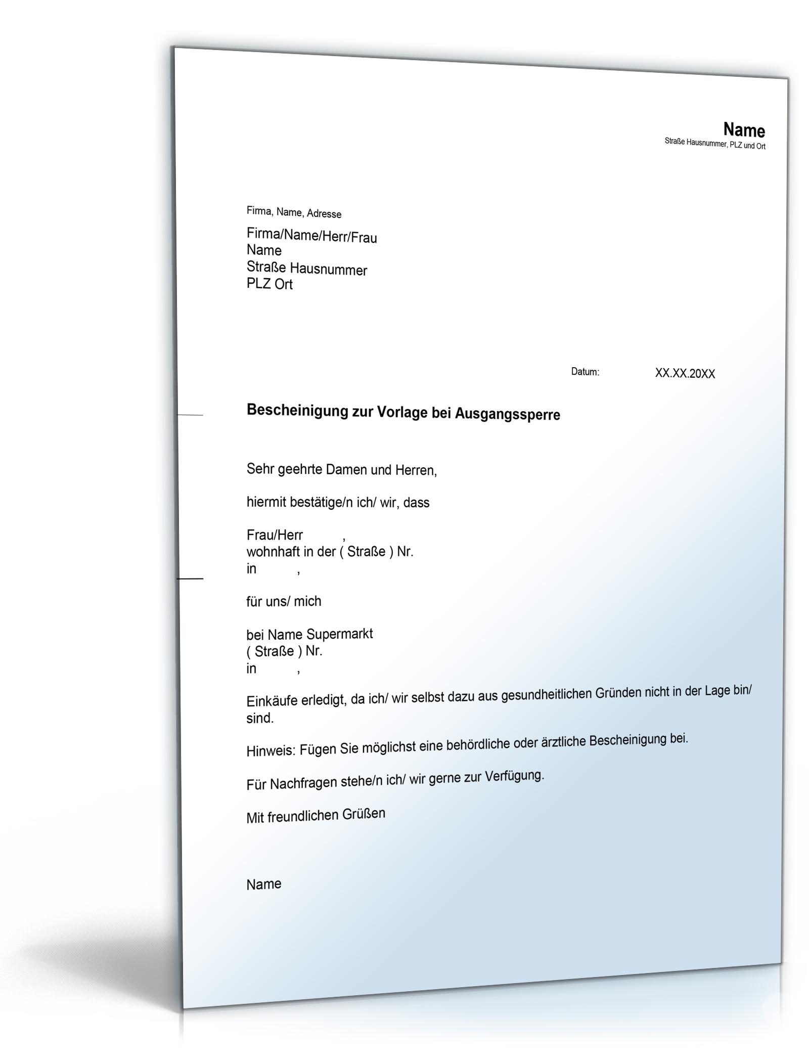 Private Bescheinigung bei Ausgangssperre Dokument zum Download