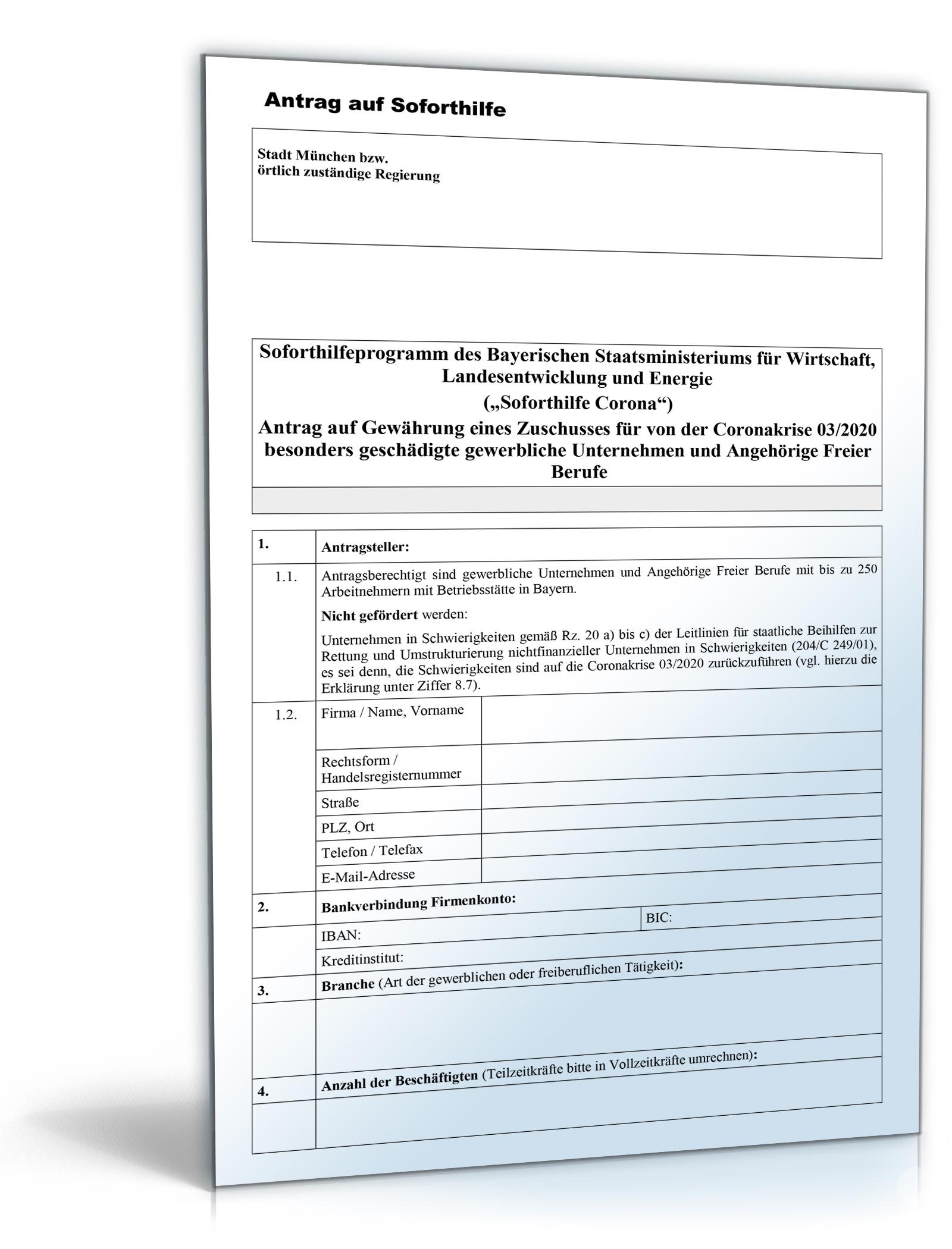 Antrag Soforthilfe Corona Dokument zum Download