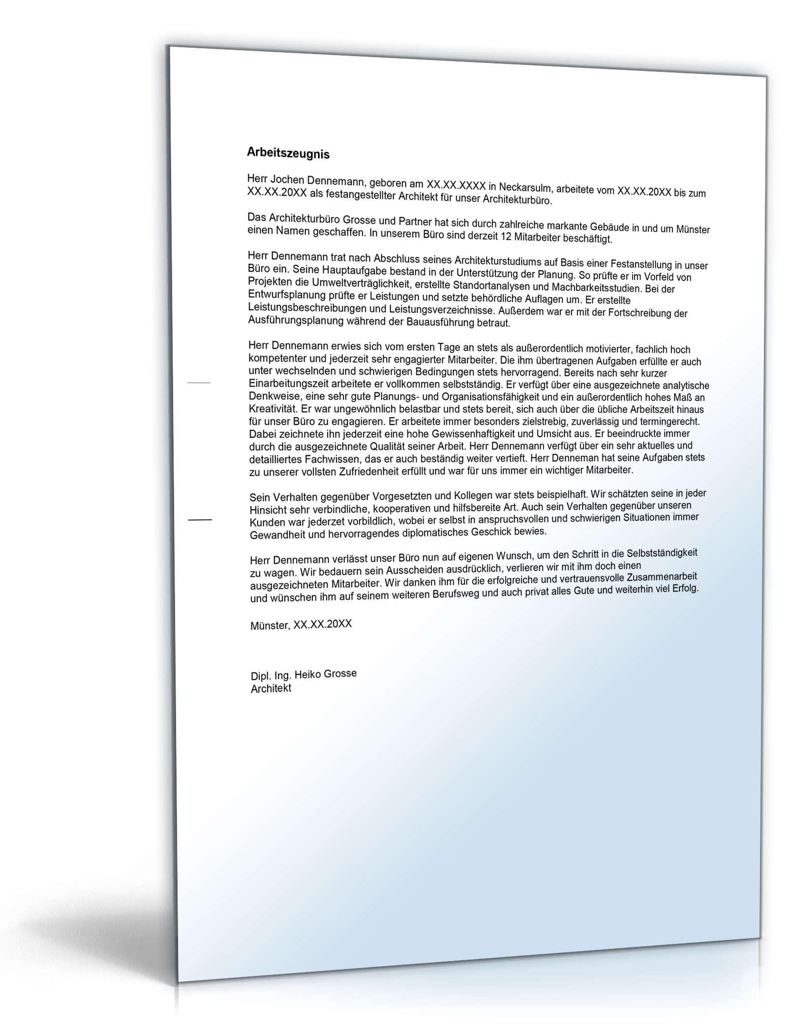 Arbeitszeugnis Architekt: Rechtssichere Muster zum Download