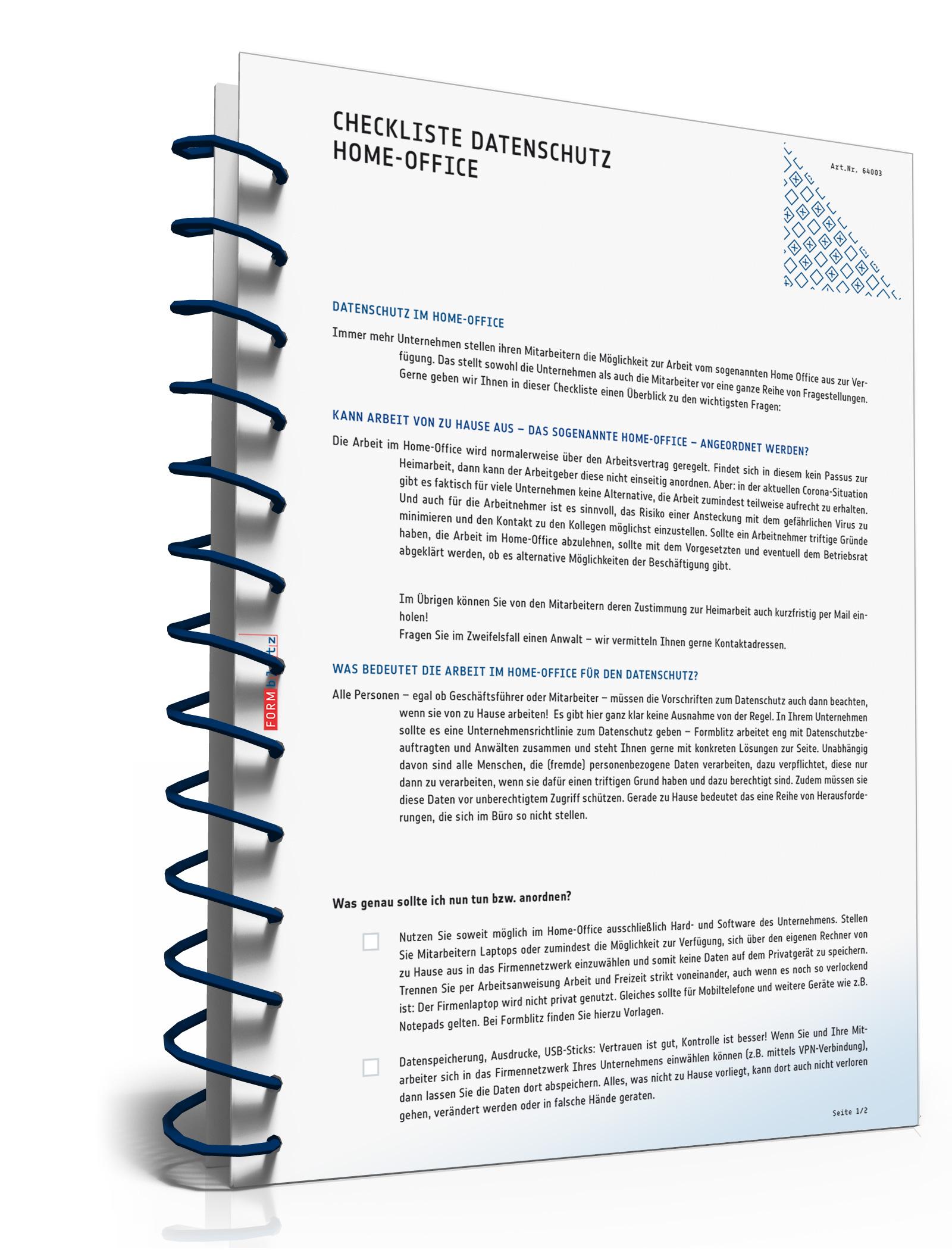 Checkliste Datenschutz Home-Office Dokument zum Download
