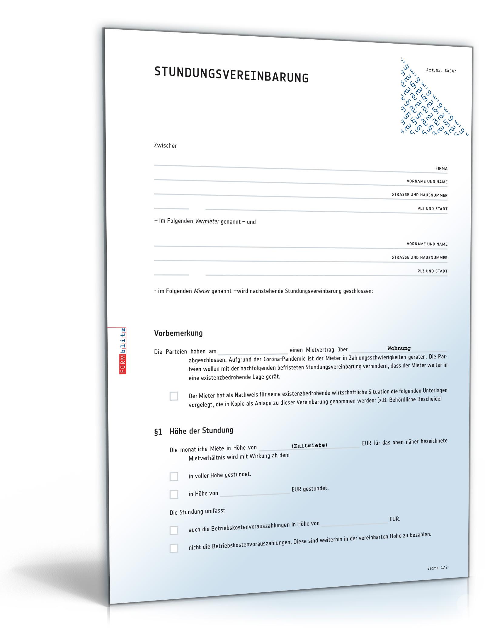 Änderungsvereinbarung Gewerbemietvertrag Dokument zum Download