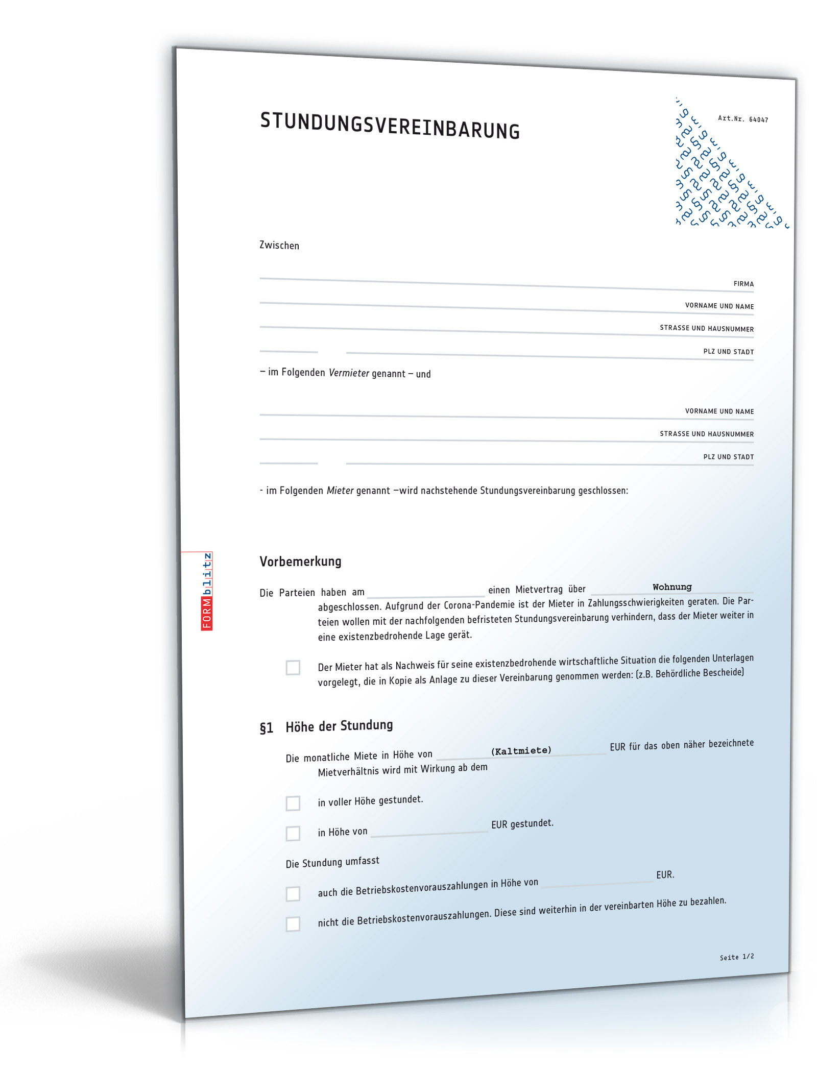 Stundungsvereinbarung Mietvertrag Dokument zum Download