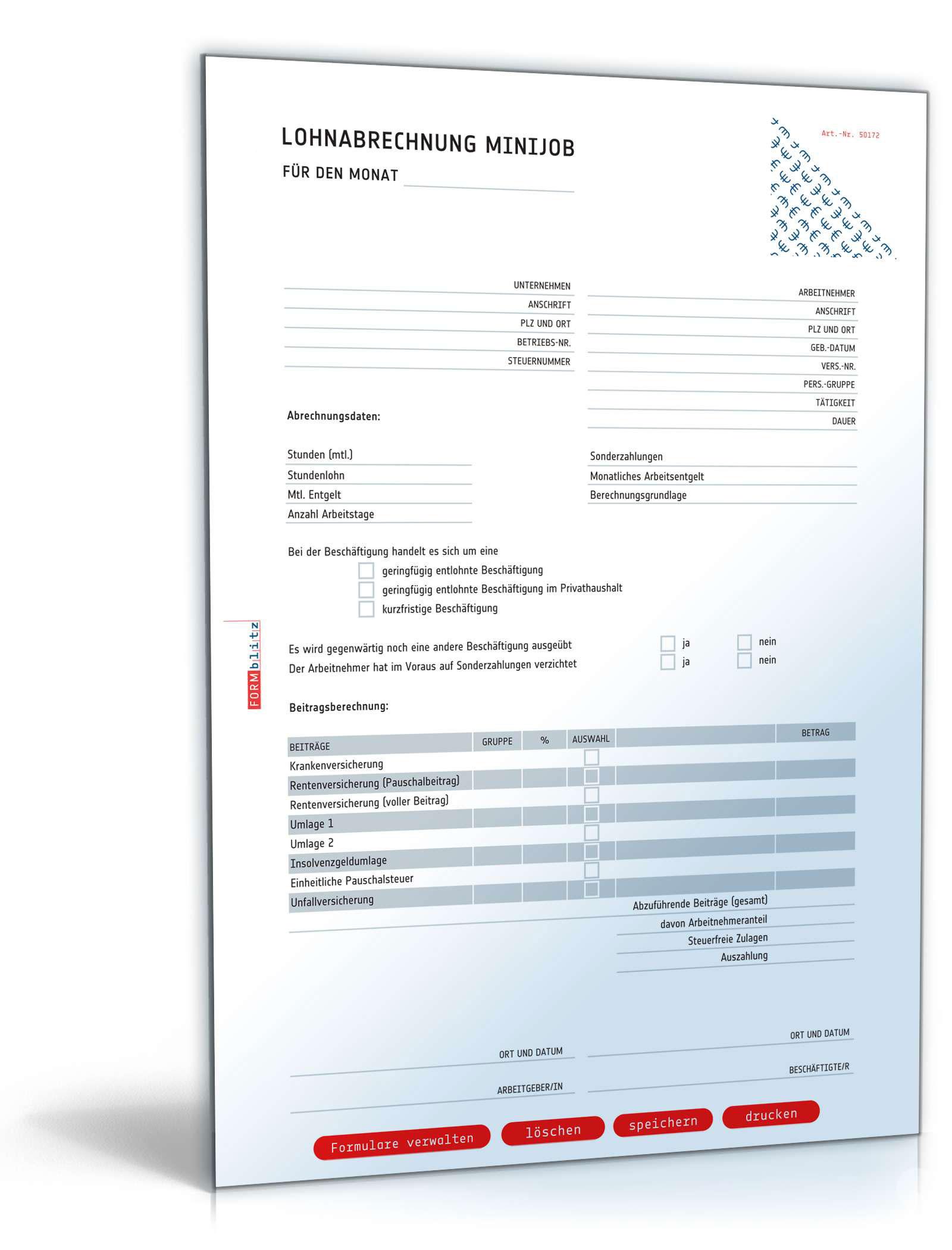 Lohnabrechnung 450-Euro-Minijob ab Oktober 2020 Dokument zum Download