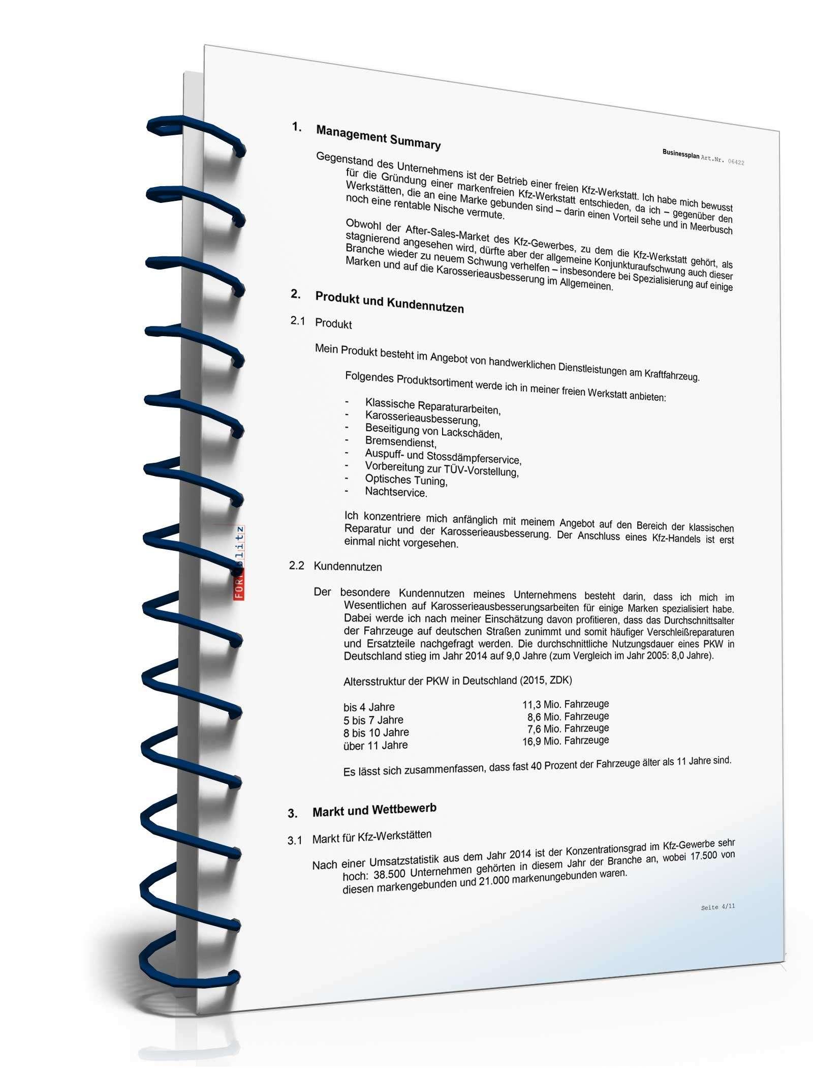 Beispiel Businessplan Vorlage Existenzgründung Kfz-Werkstatt //-Service inkl