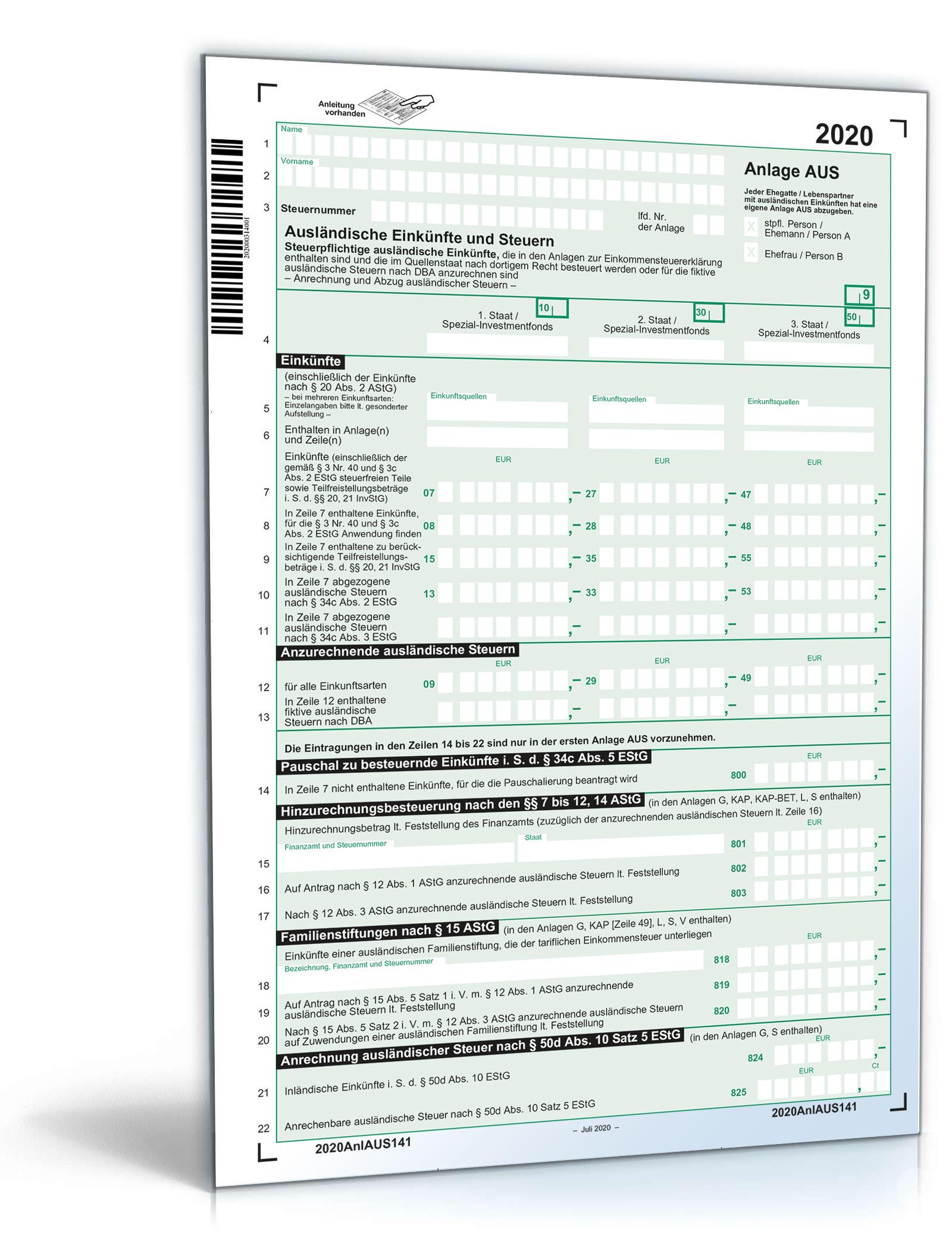 Anlage AUS 2020 • DE Steuerformular Download