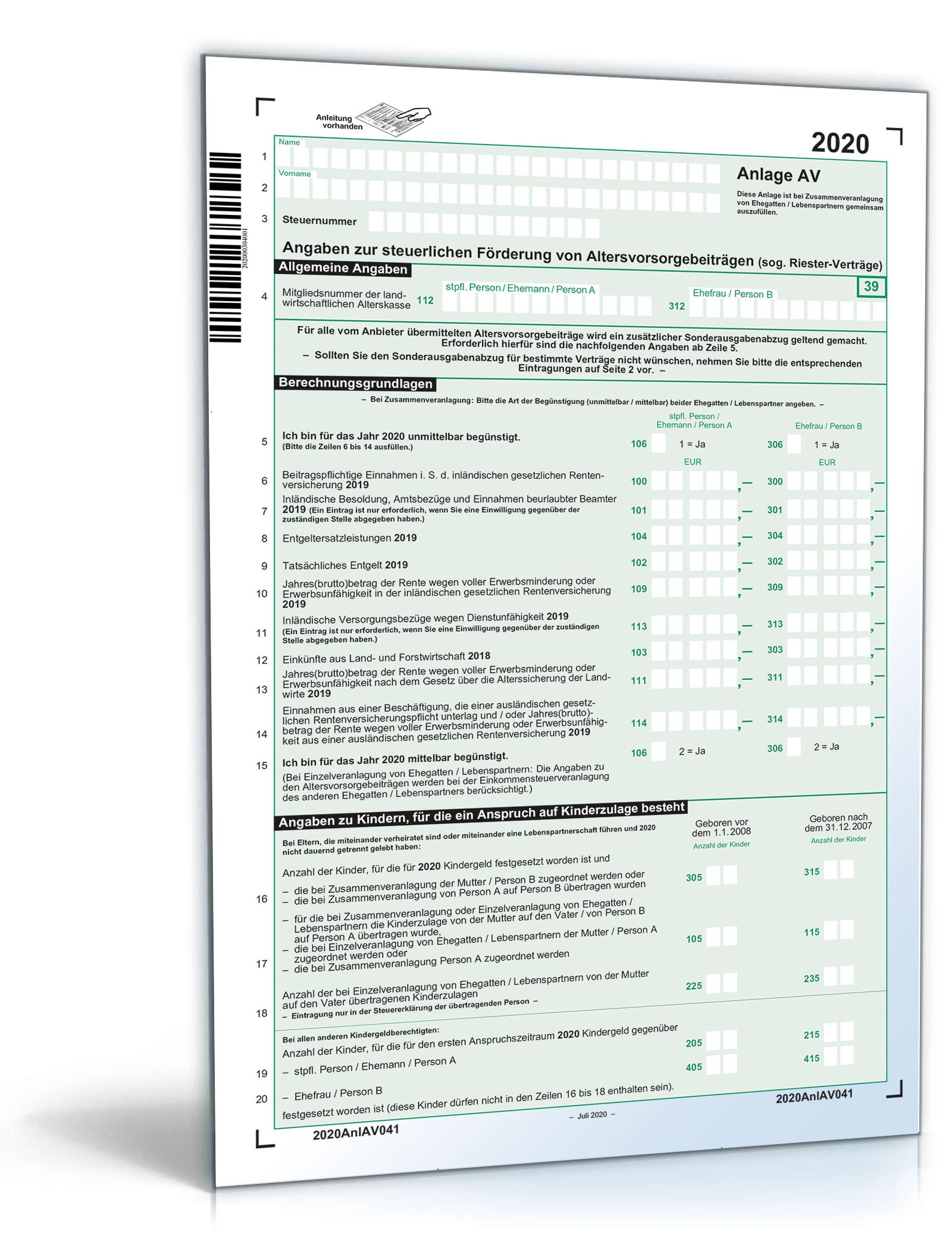Anlage AV 2020  Steuerformular zum Download