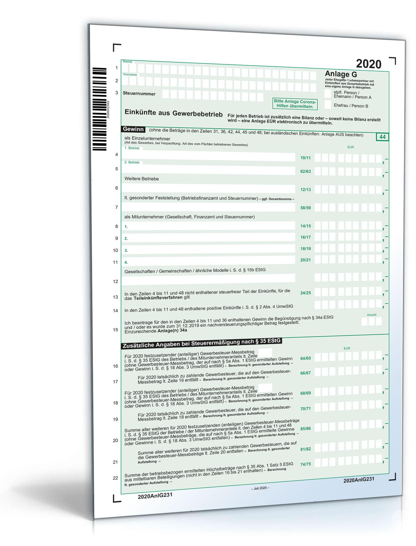 Anlage G 2020 | Steuerformular zum Download