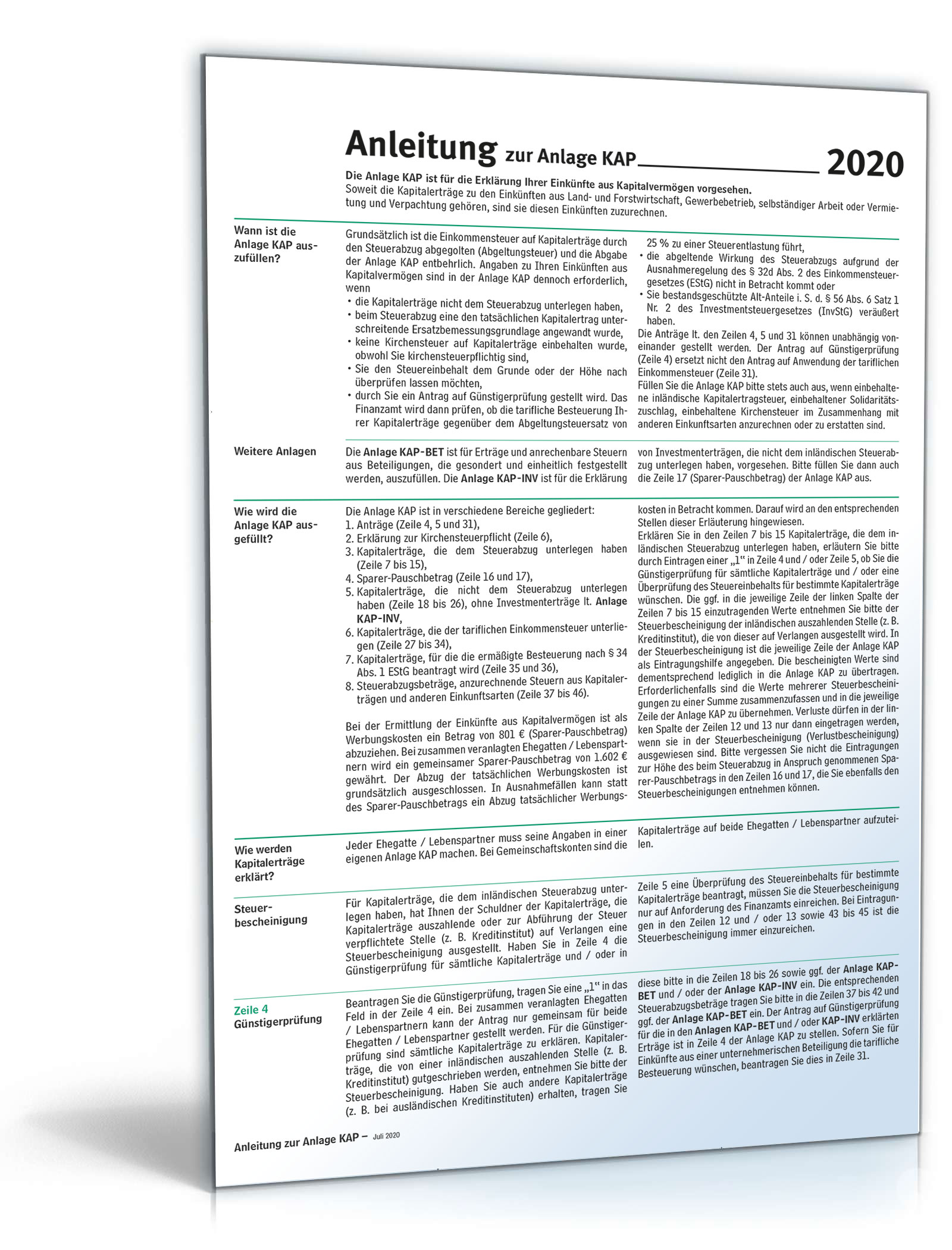 Anleitung Anlage KAP 2020 Dokument zum Download