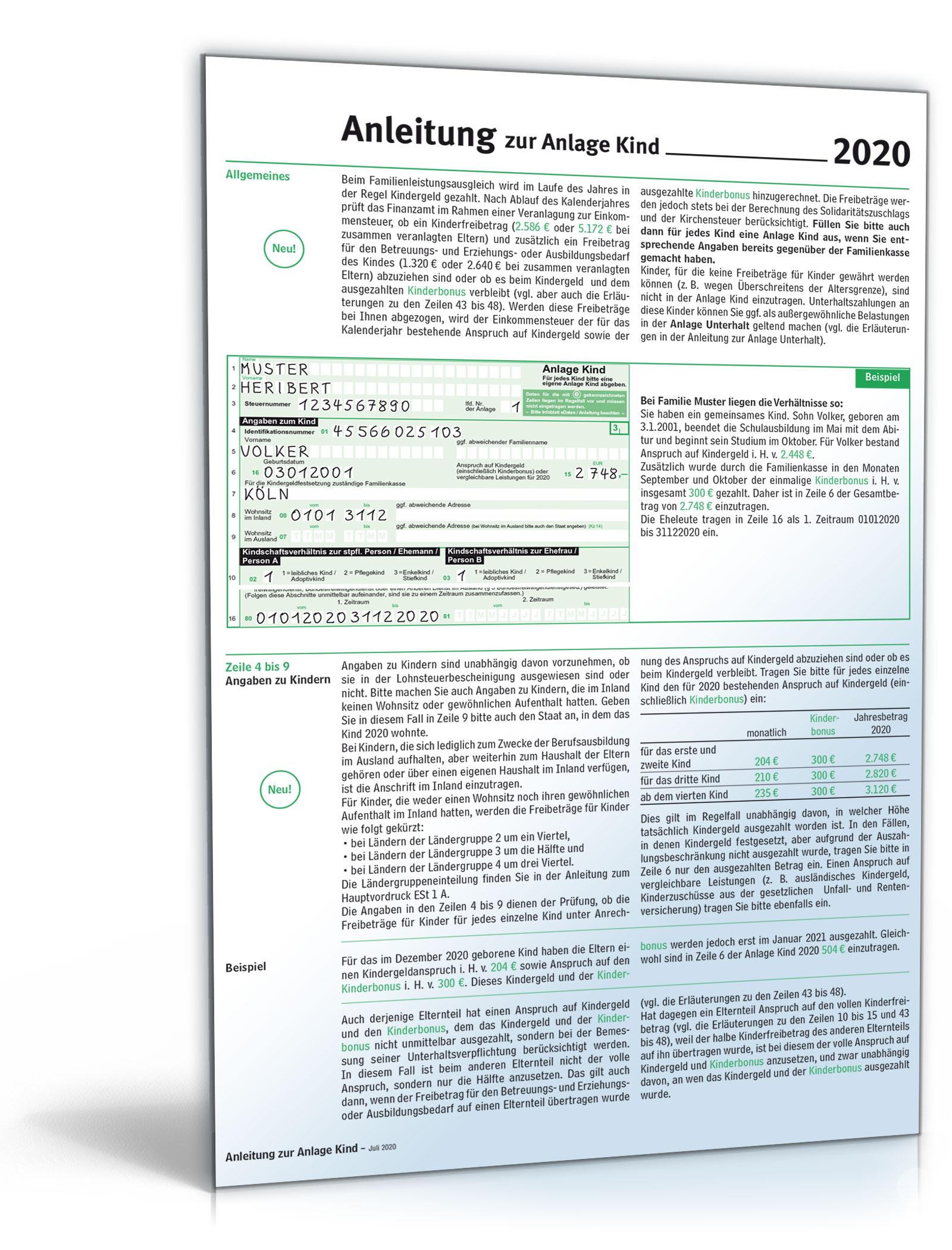 Anleitung Anlage Kind 2020 Dokument zum Download