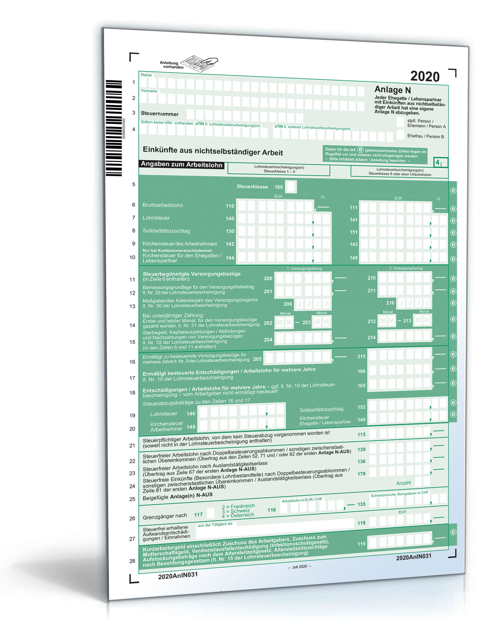 Anlage N 2020   Gratis: Steuerformular zum Download