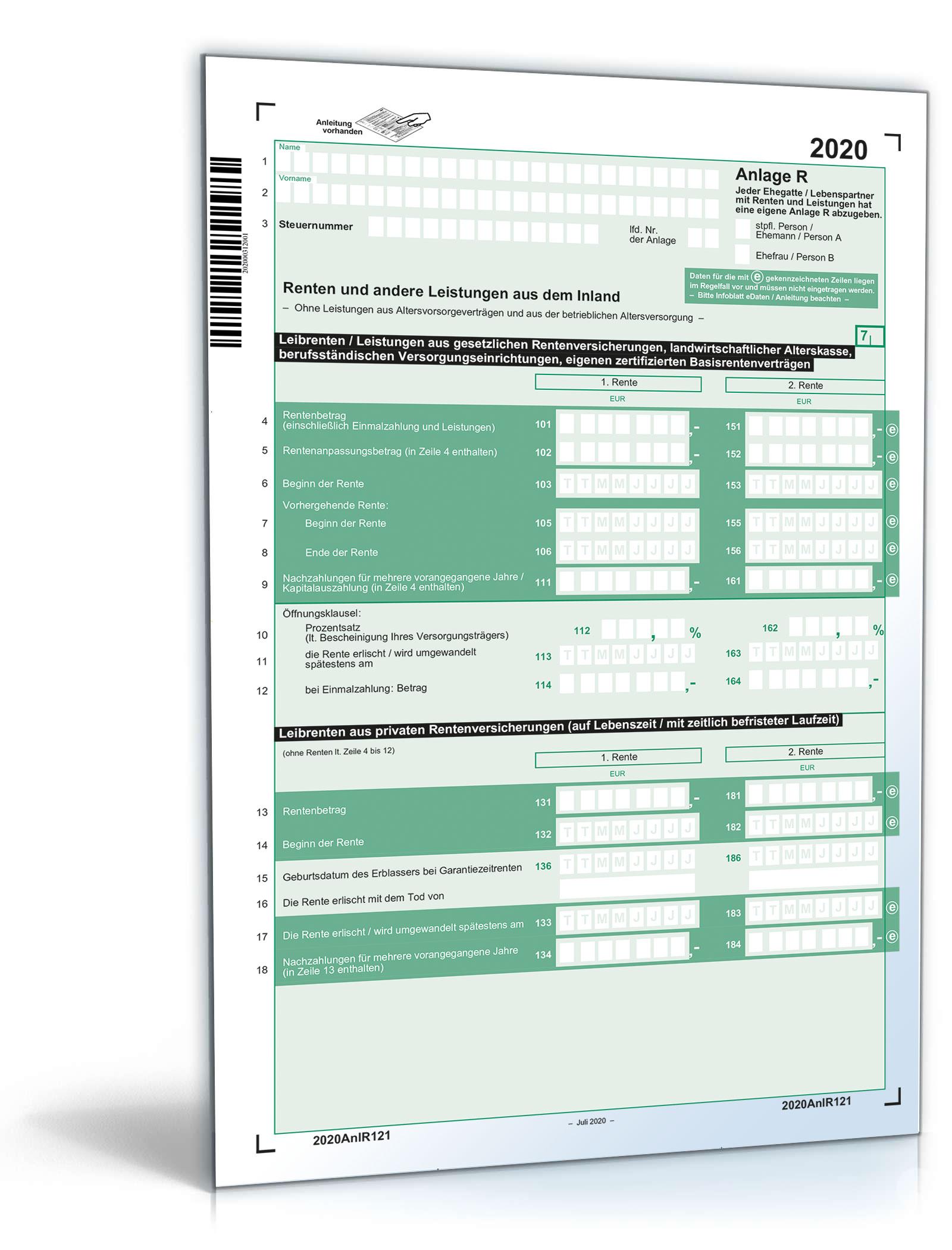 Anlage R 2020 Dokument zum Download