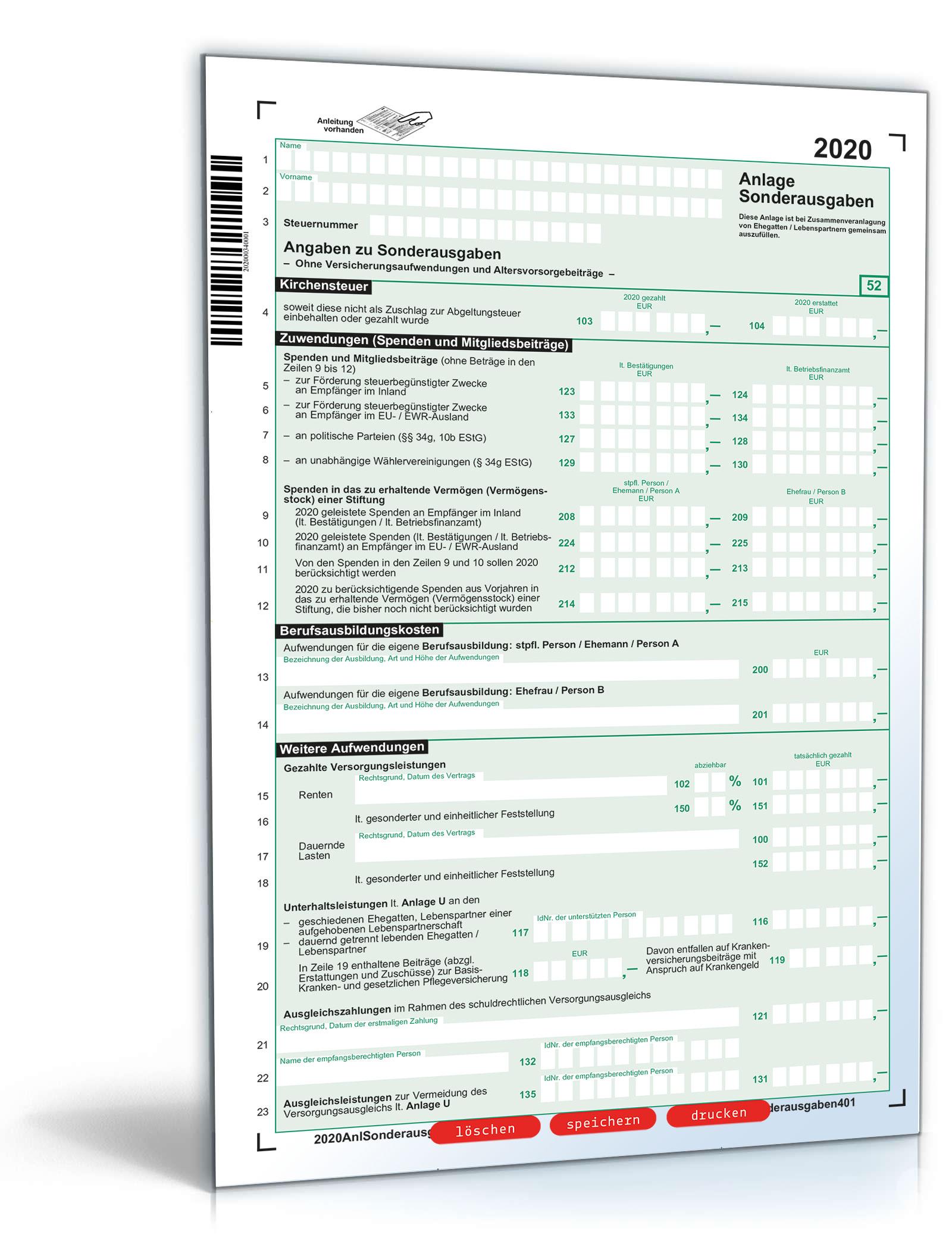 Anlage Sonderausgaben 2020 Dokument zum Download